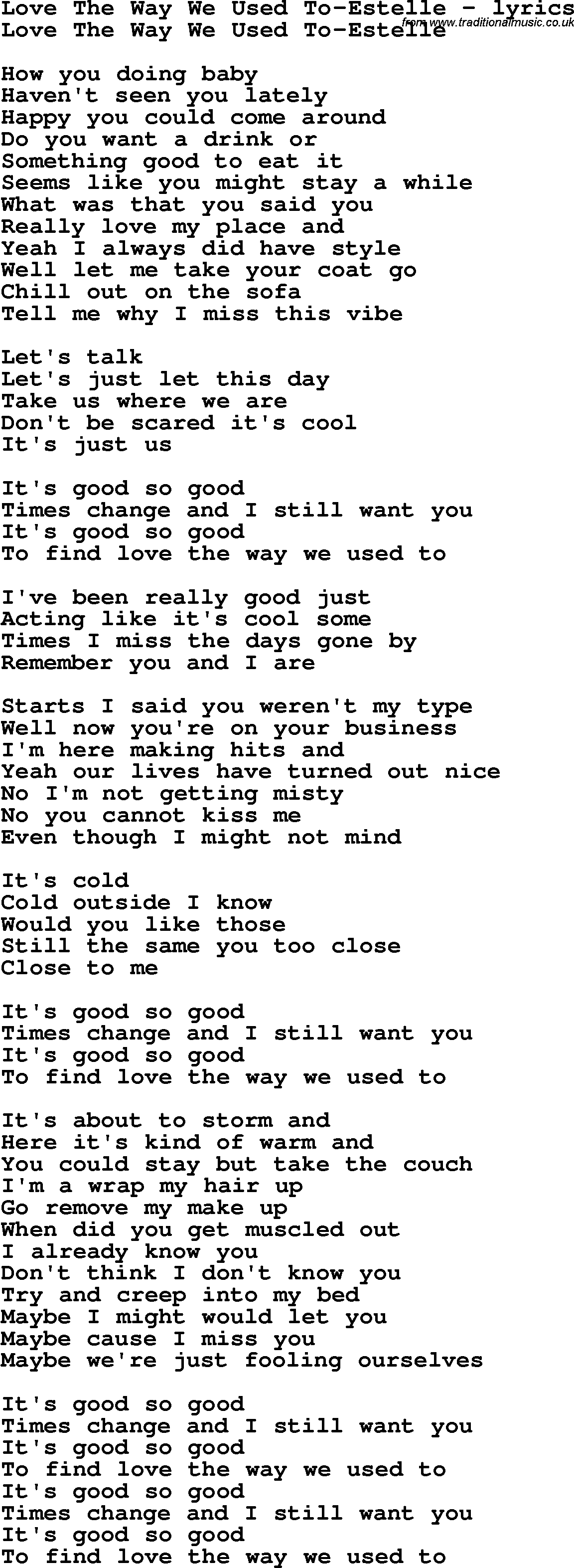 Love Song Lyrics for:Love The Way We Used To-Estelle