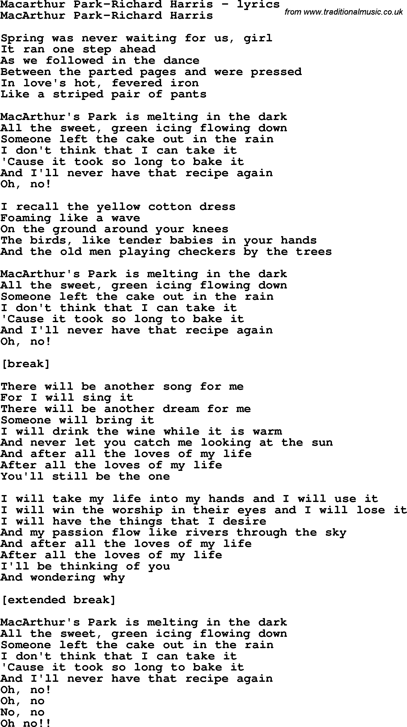 Love Song Lyrics for:Macarthur Park-Richard Harris
