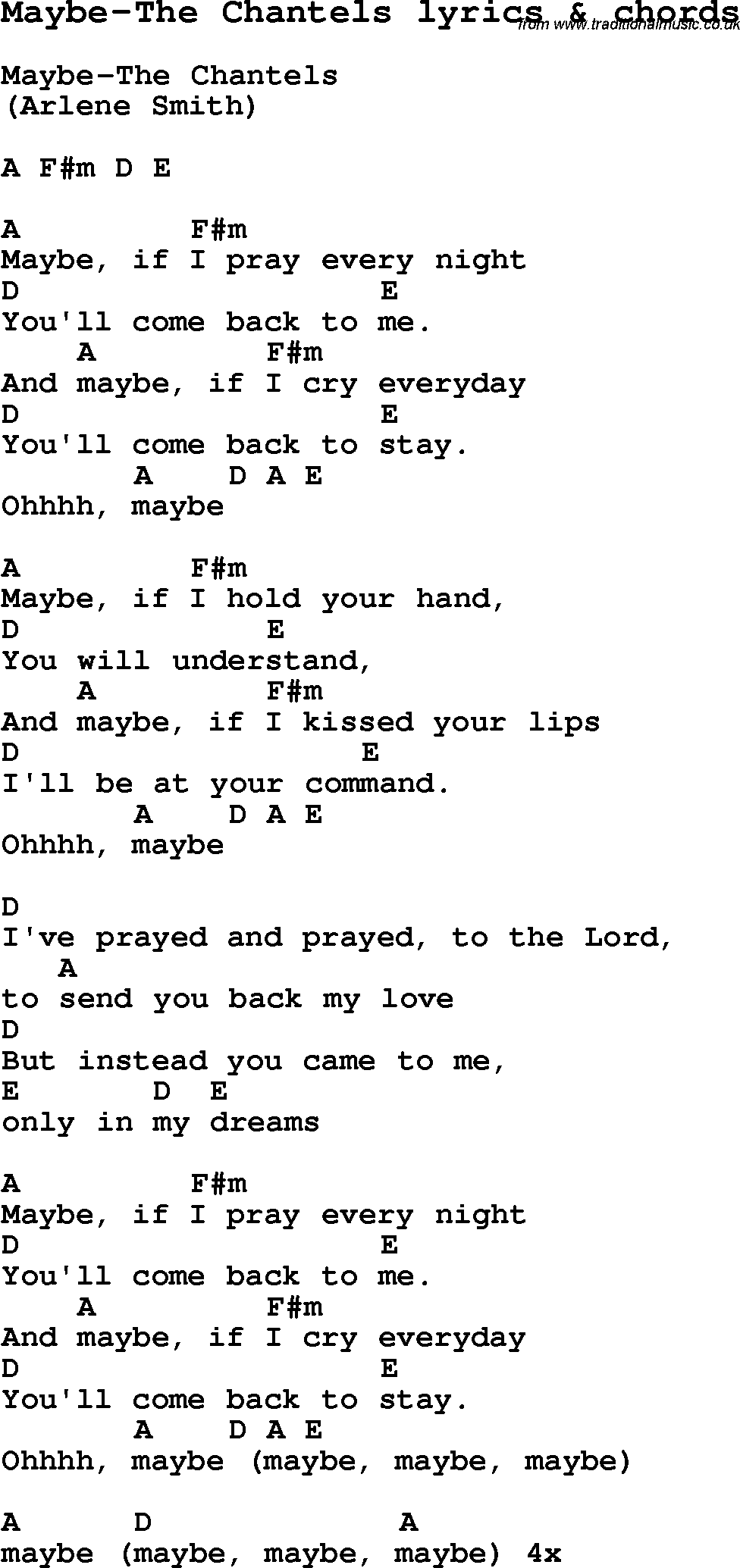 Love Song Lyrics Formaybe The Chantels With Chords