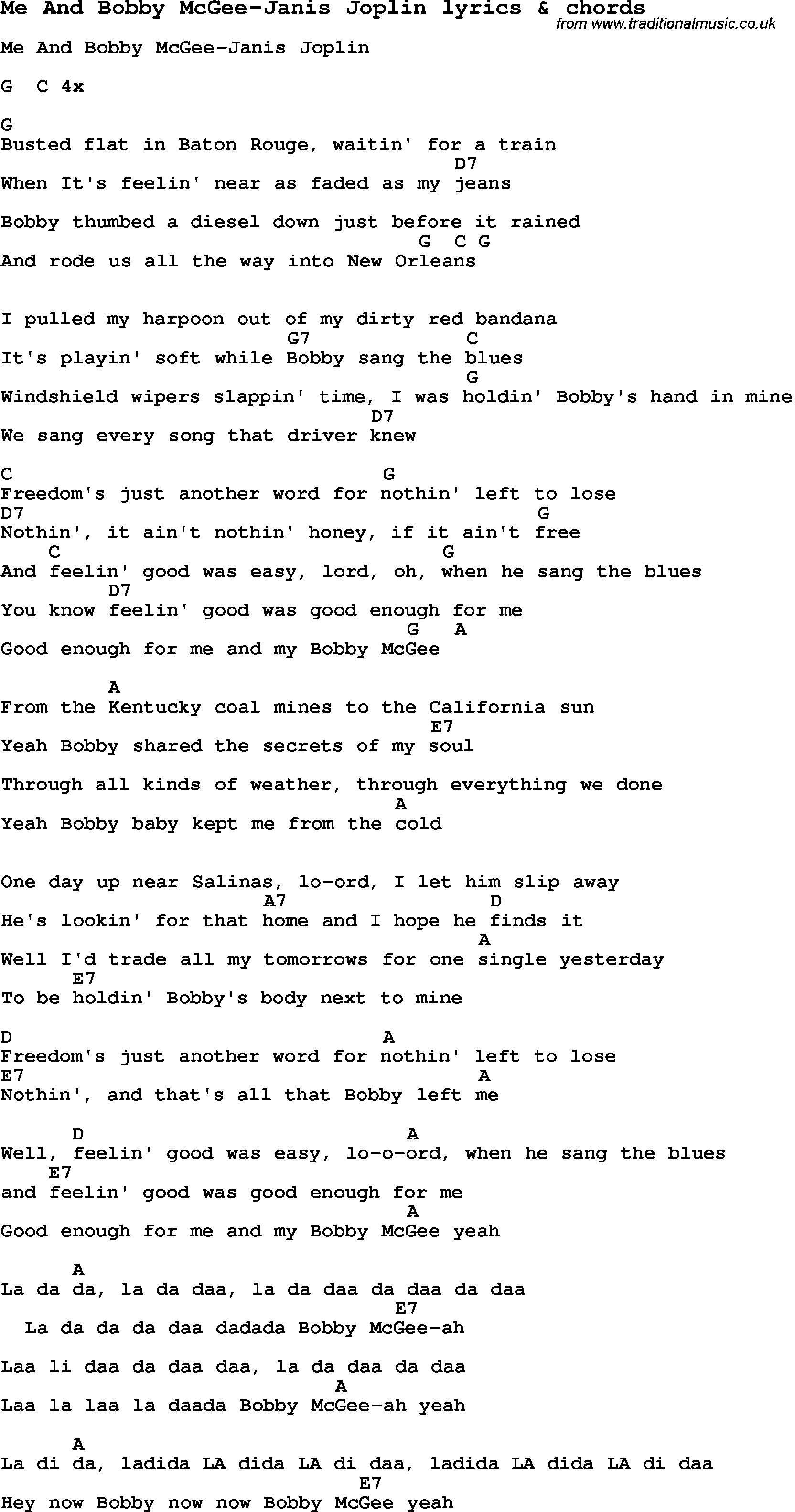 Love Song Lyrics forMe And Bobby McGee Janis Joplin with chords.