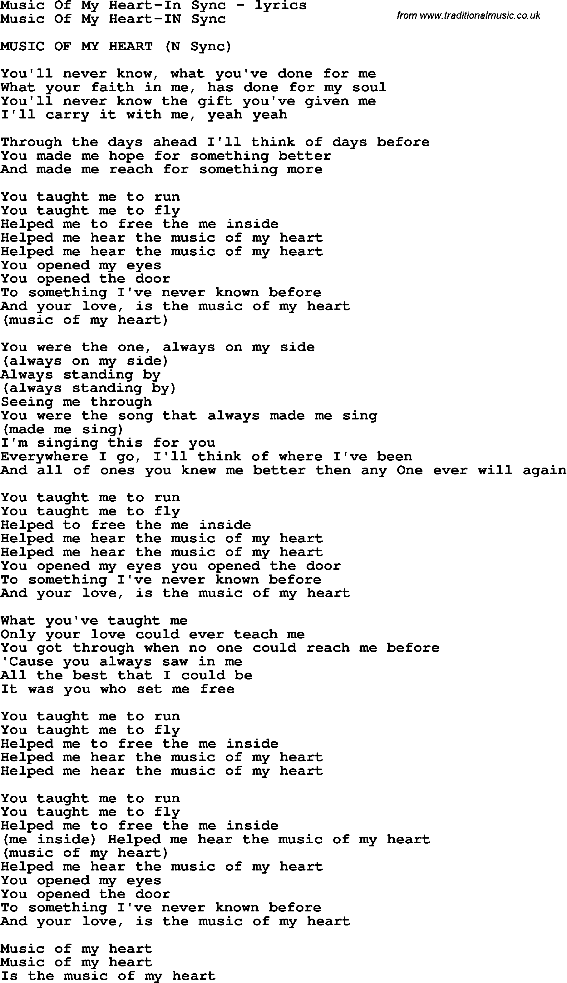 Love Song Lyrics for Music Of My Heart-In Sync  sc 1 st  Traditional Music Library & Love Song Lyrics for:Music Of My Heart-In Sync