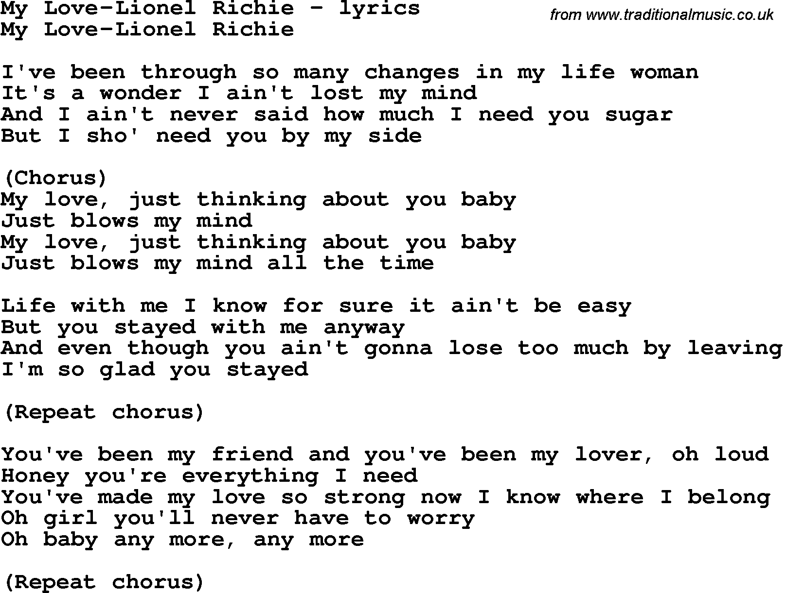 hello lionel richie chords pdf