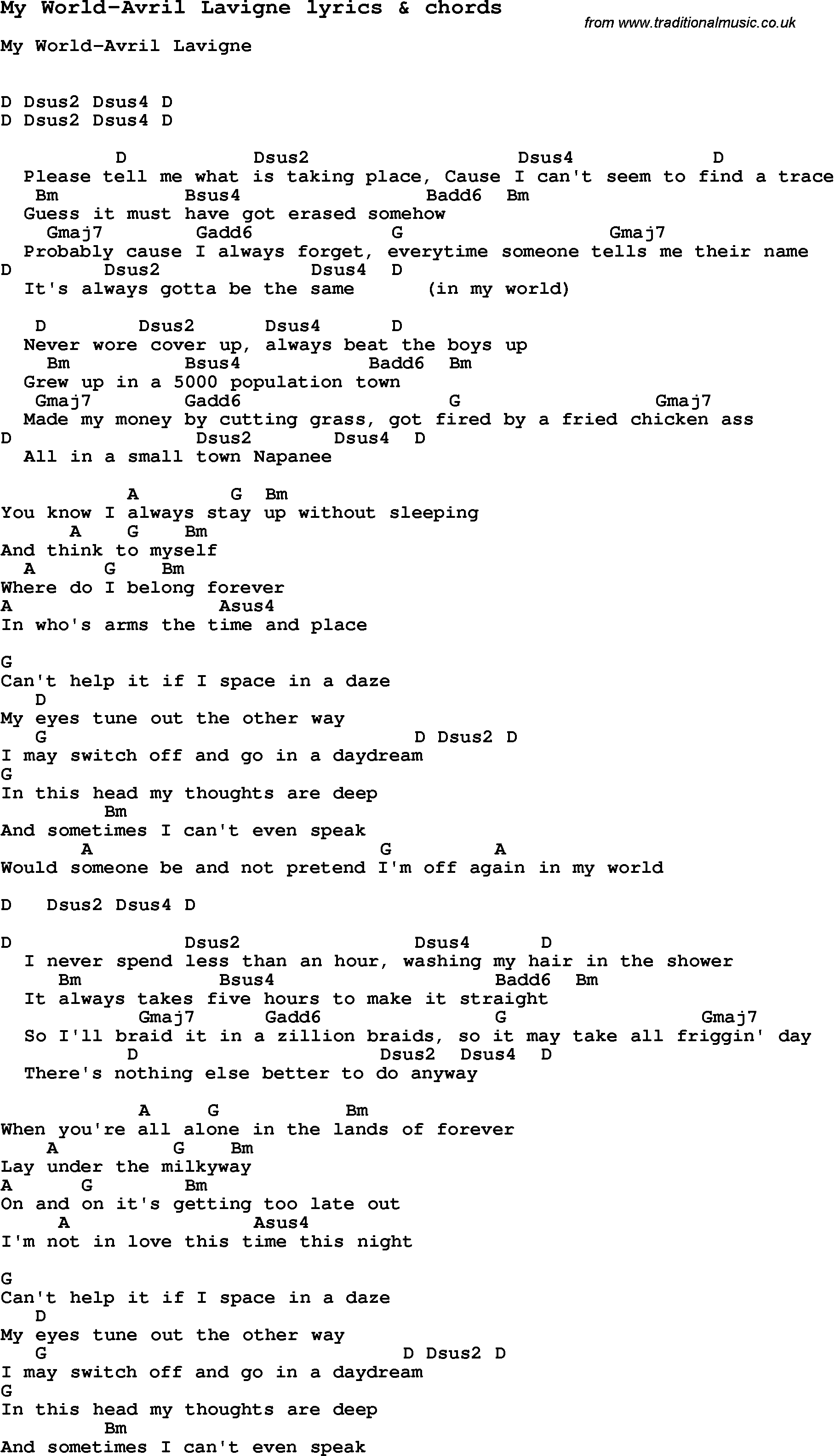 Love song lyrics formy world avril lavigne with chords love song lyrics for my world avril lavigne with chords for ukulele guitar hexwebz Choice Image
