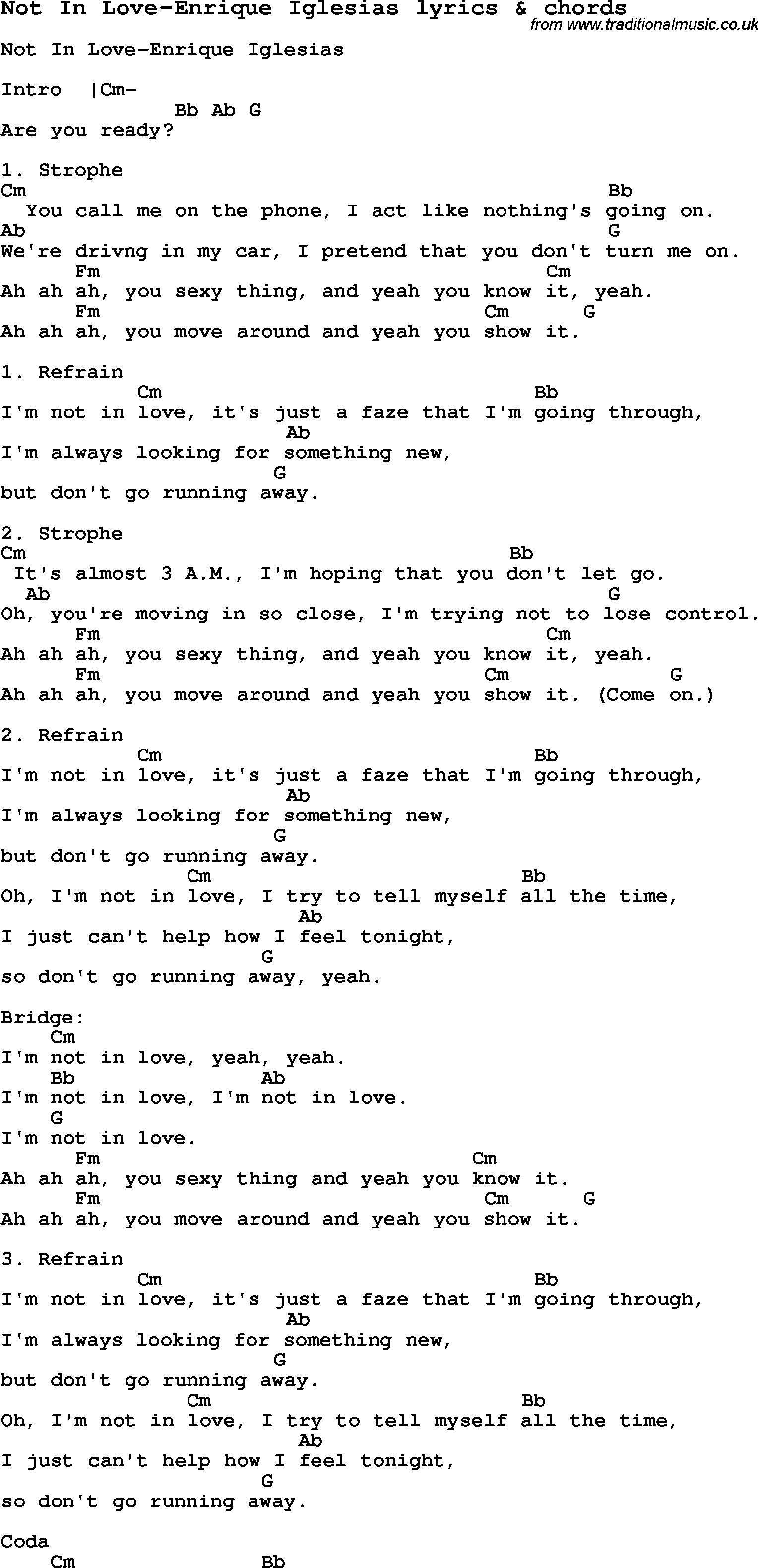 Love Song Lyrics Fornot In Love Enrique Iglesias With Chords