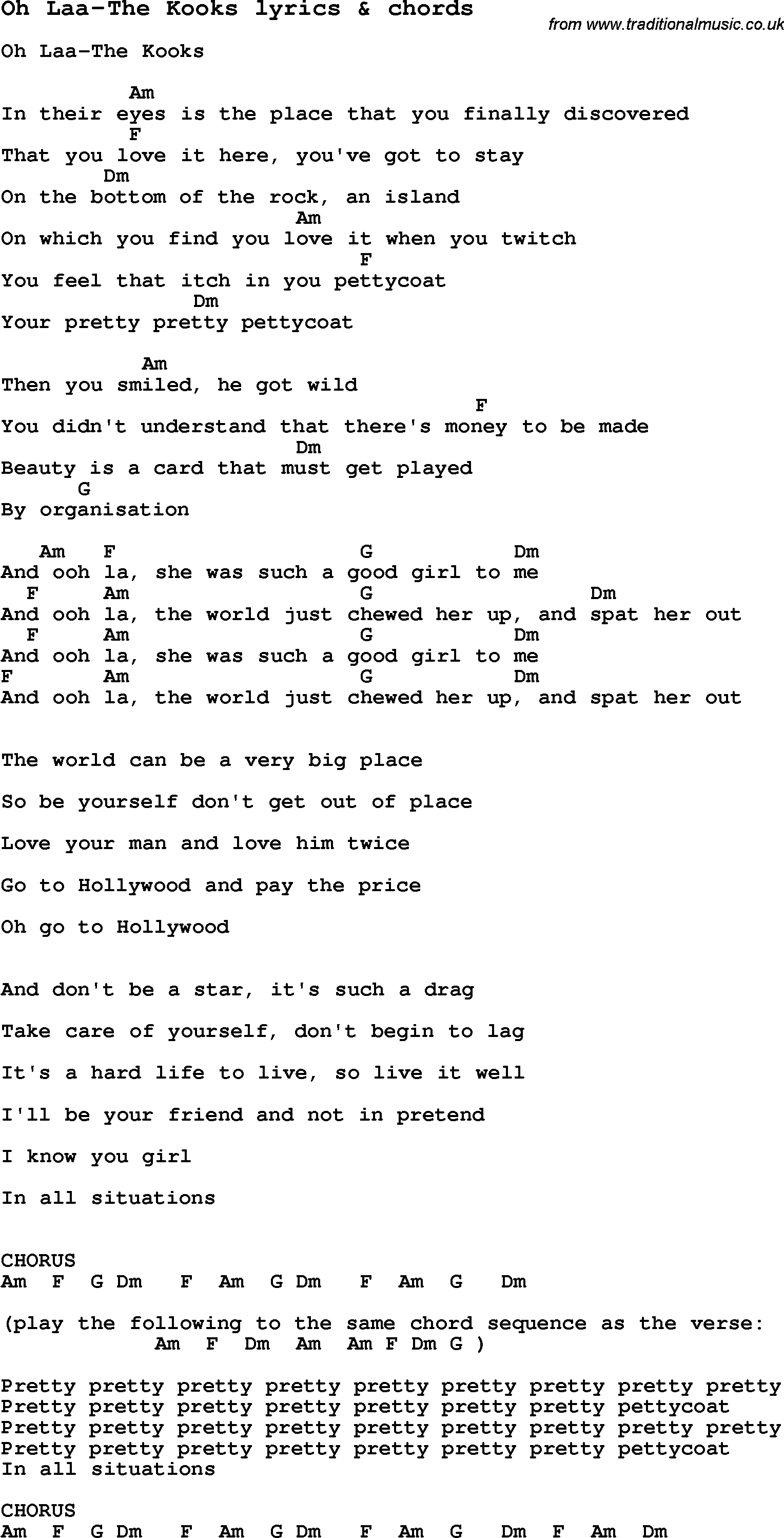 Love Song Lyrics Foroh Laa The Kooks With Chords