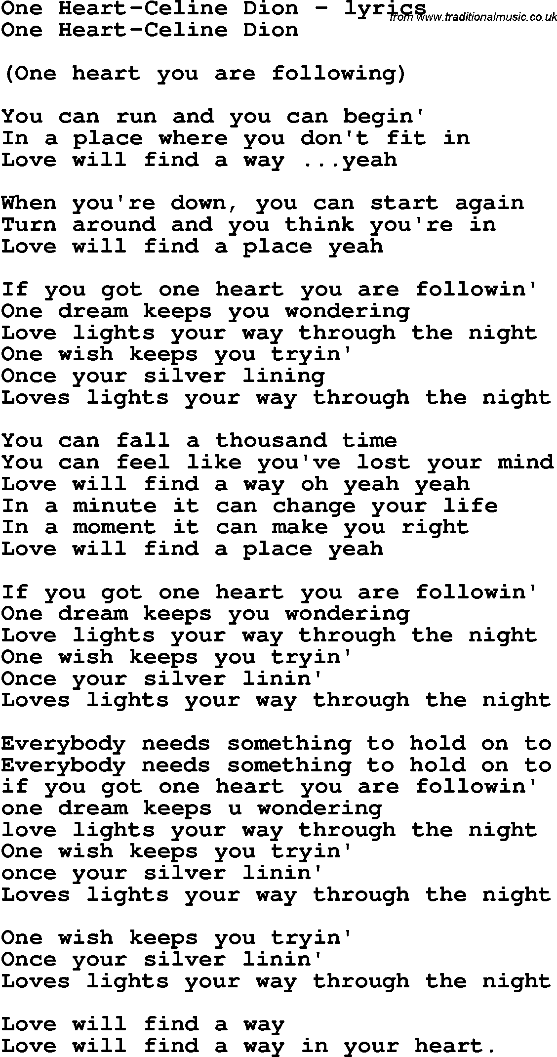 Lyrics Of Celine Dion Song My Heart Will Go On | Mount Mercy