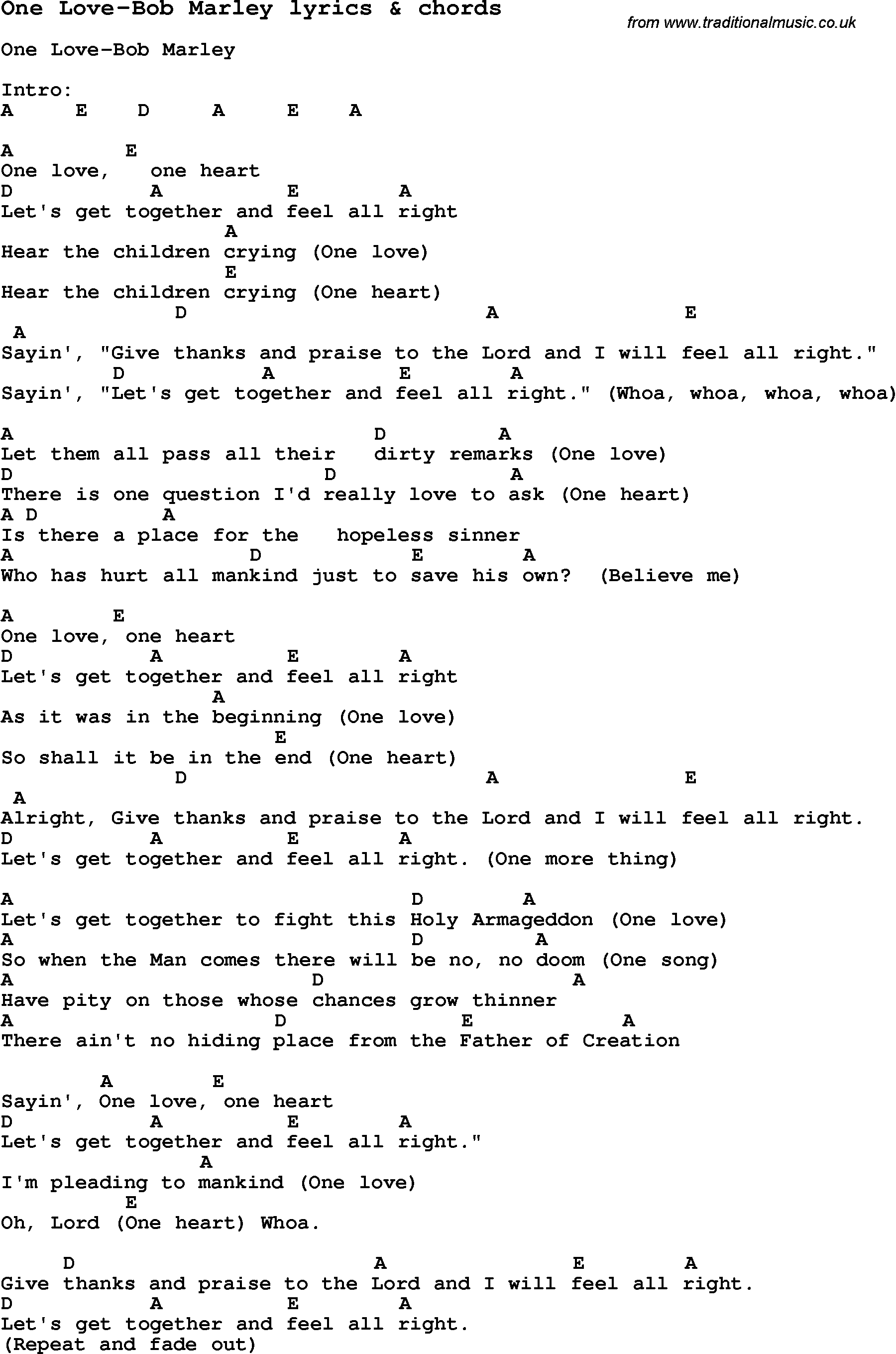Love song lyrics forone love bob marley with chords love song lyrics for one love bob marley with chords for ukulele guitar hexwebz Gallery