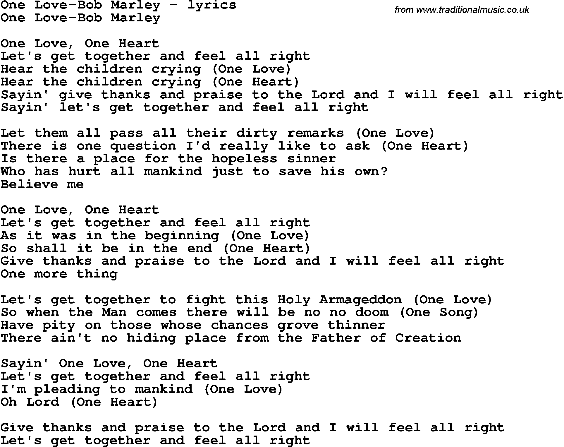 » One Love by Bob Marley and Song Facts