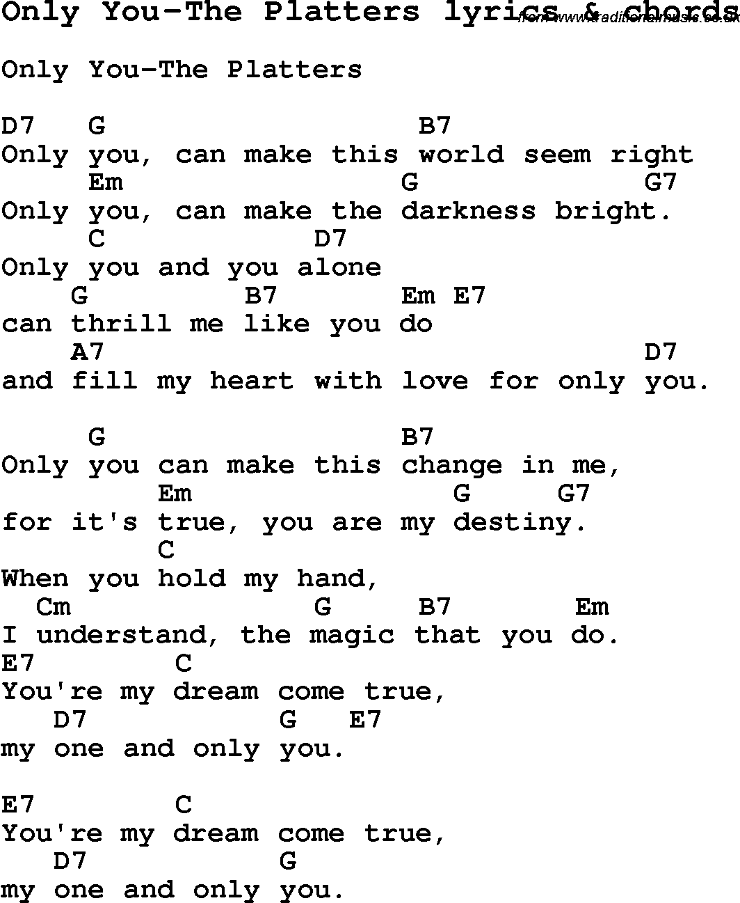 Love Song Lyrics for:Only You-The Platters with chords.