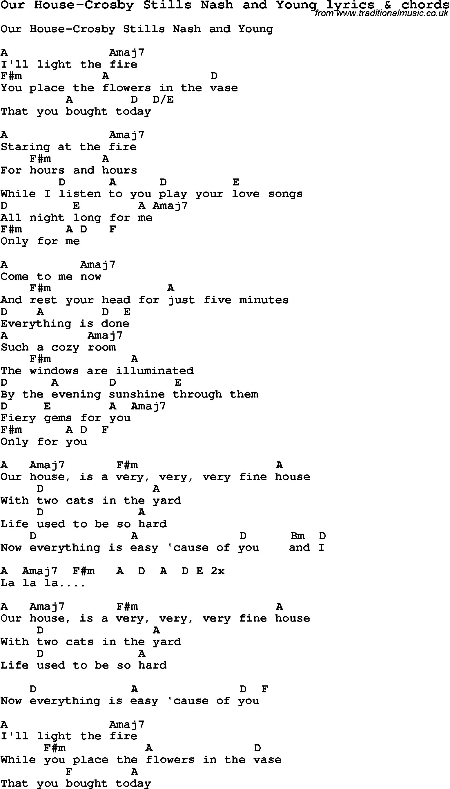 Love Song Lyrics forOur House Crosby Stills Nash and Young with