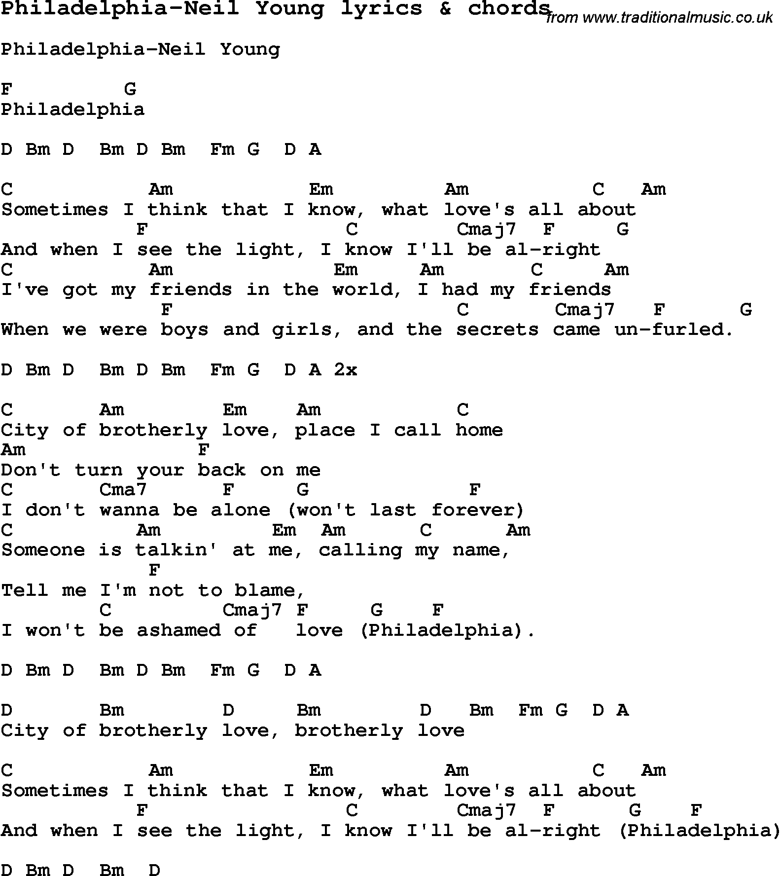 Love Song Lyrics for:Philadelphia-Neil Young with chords.