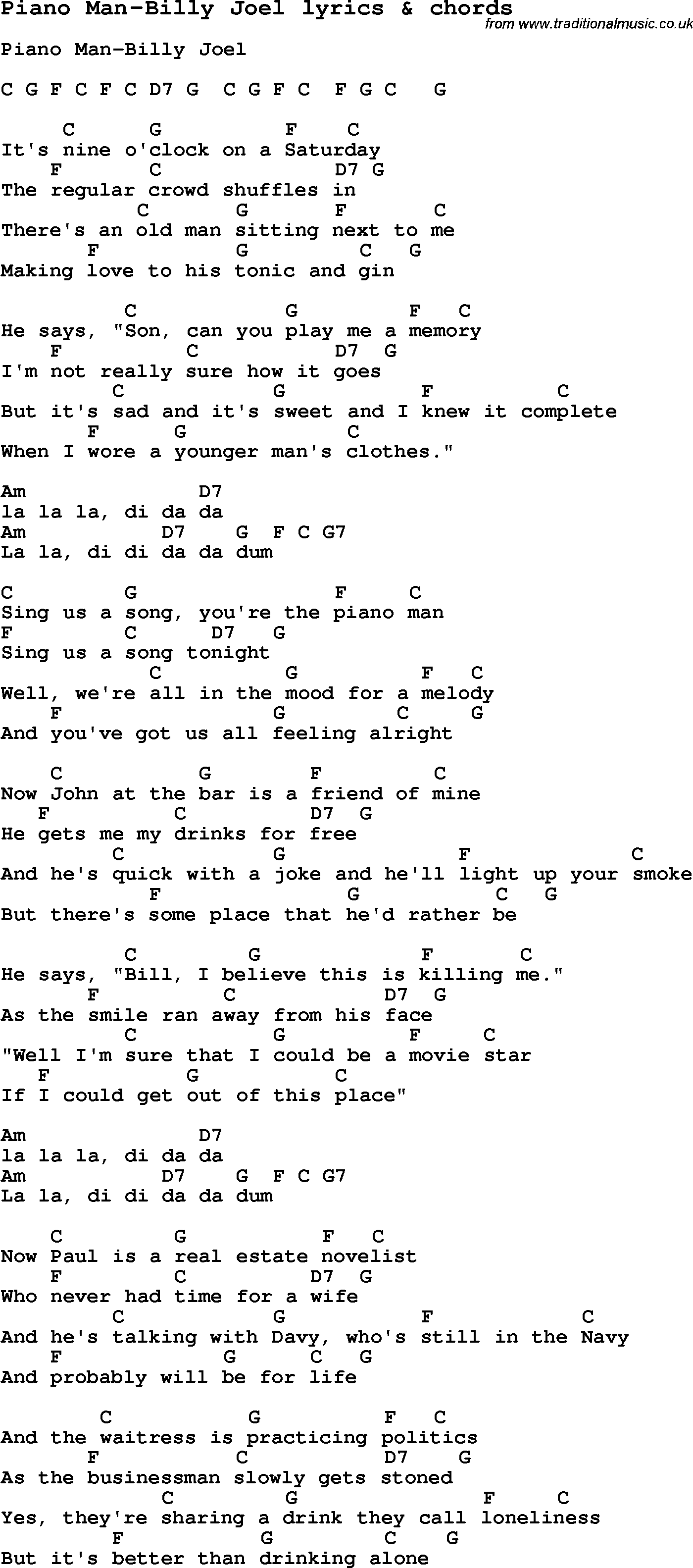 Love song lyrics forpiano man billy joel with chords love song lyrics for piano man billy joel with chords for ukulele guitar hexwebz Choice Image