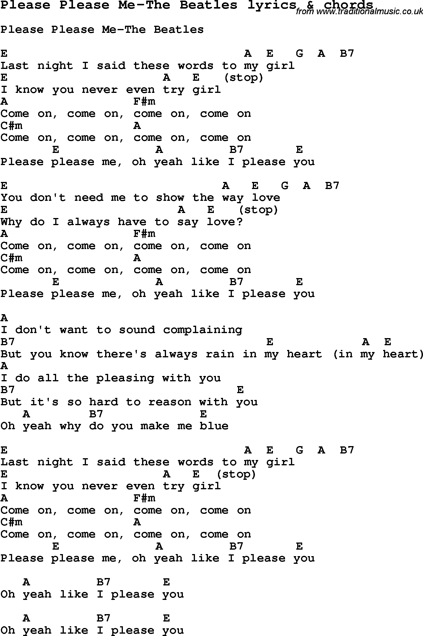 Love Song Lyrics for:Please Please Me-The Beatles with chords.