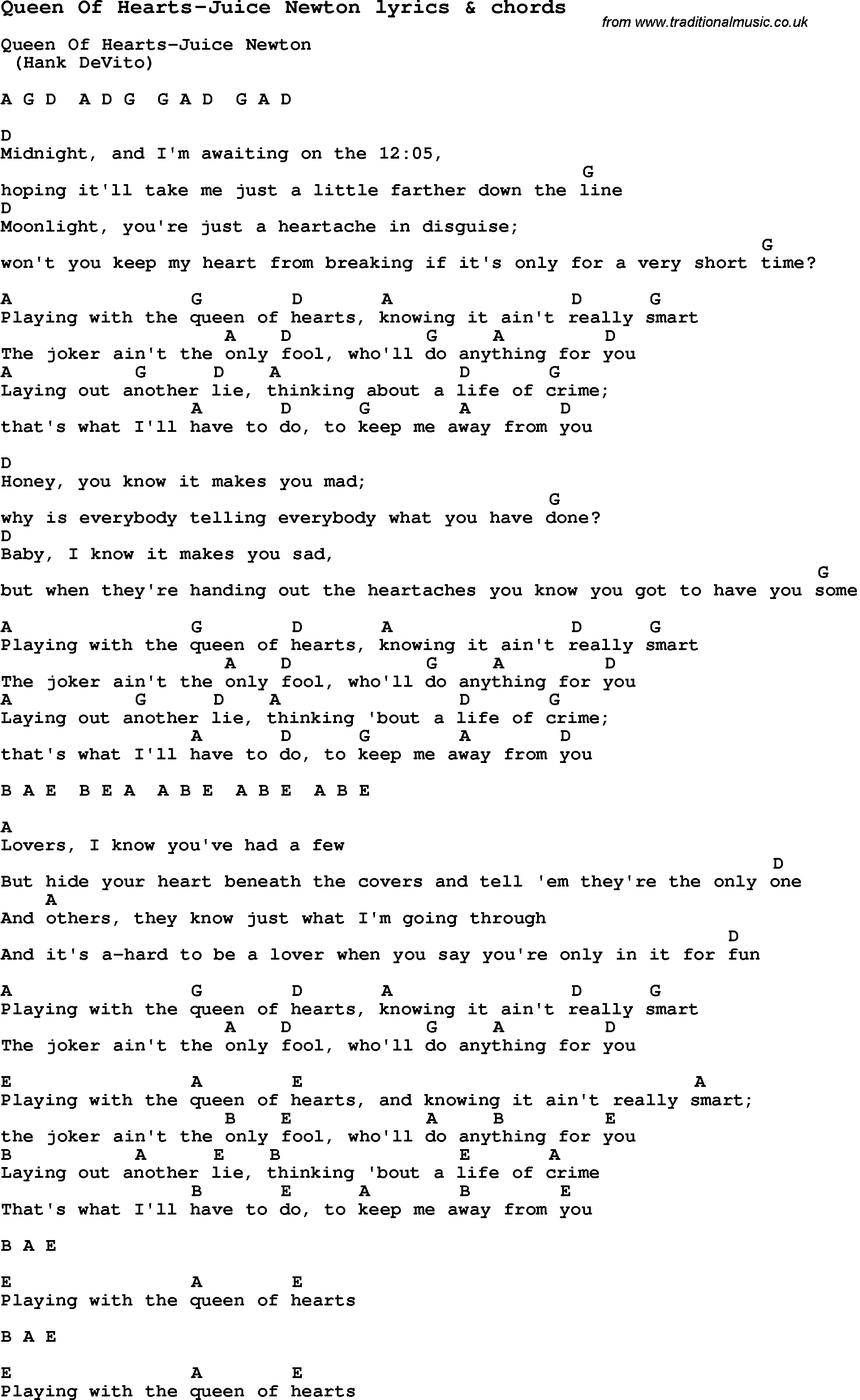 Love Song Lyrics for:Queen Of Hearts-Juice Newton with chords.