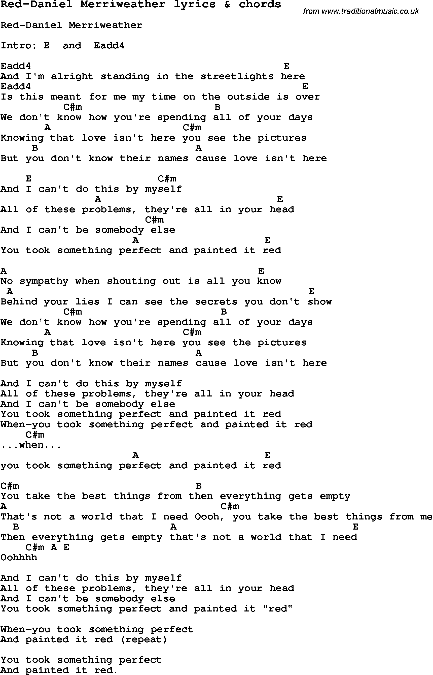 Love song lyrics forred daniel merriweather with chords love song lyrics for red daniel merriweather with chords for ukulele guitar banjo hexwebz Images