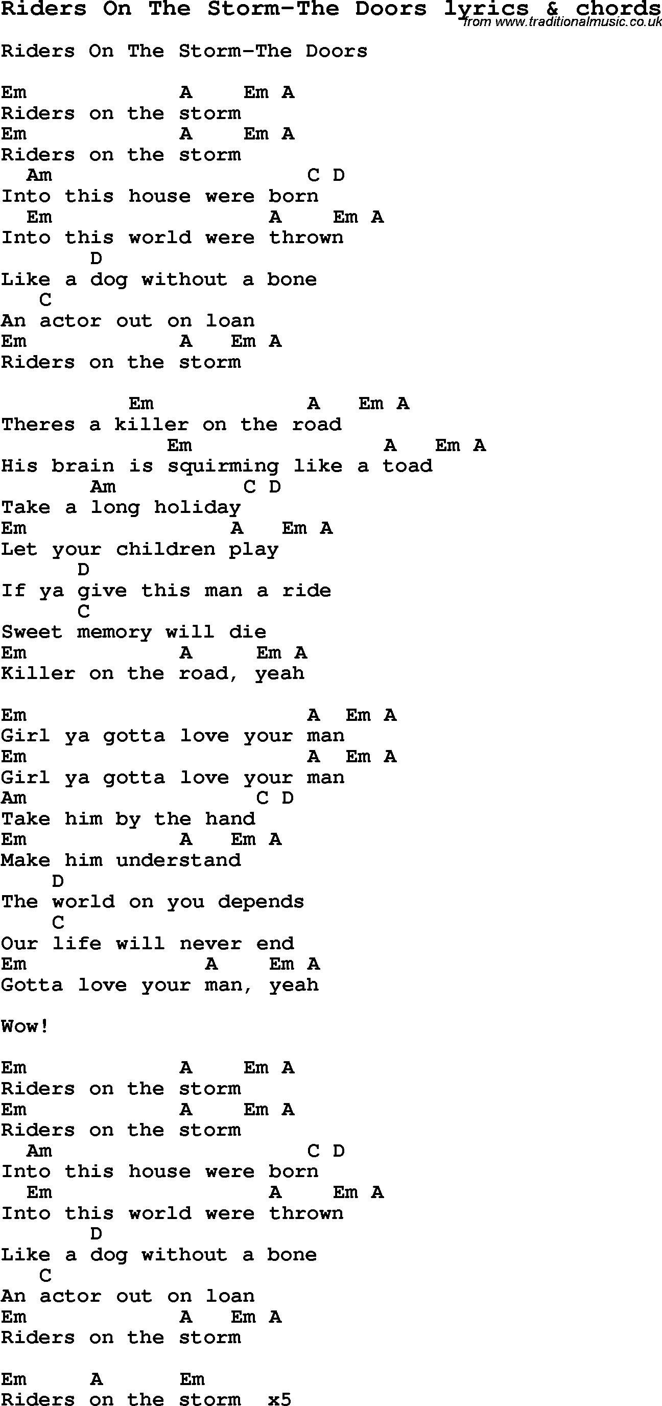 Love Song Lyrics for Riders On The Storm-The Doors with chords for Ukulele  sc 1 st  Traditional Music Library : doors lyrics - pezcame.com
