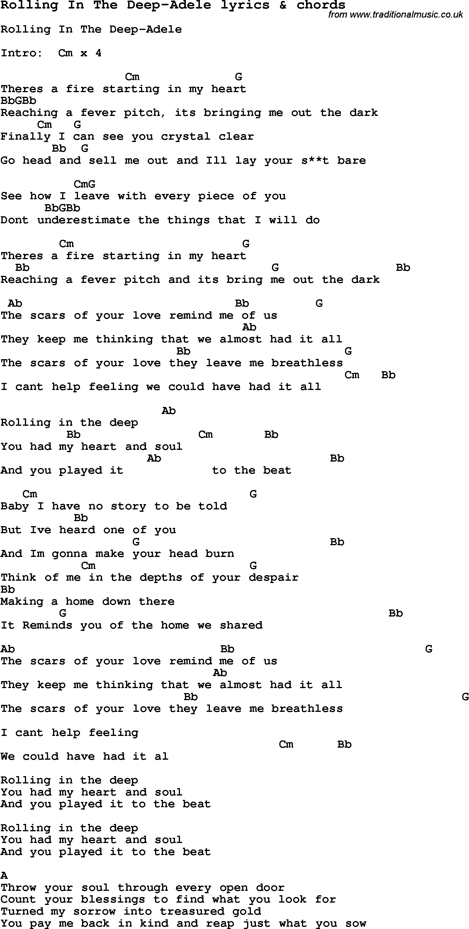 Love Song Lyrics for:Rolling In The Deep-Adele with chords. Rolling In The Deep Chords