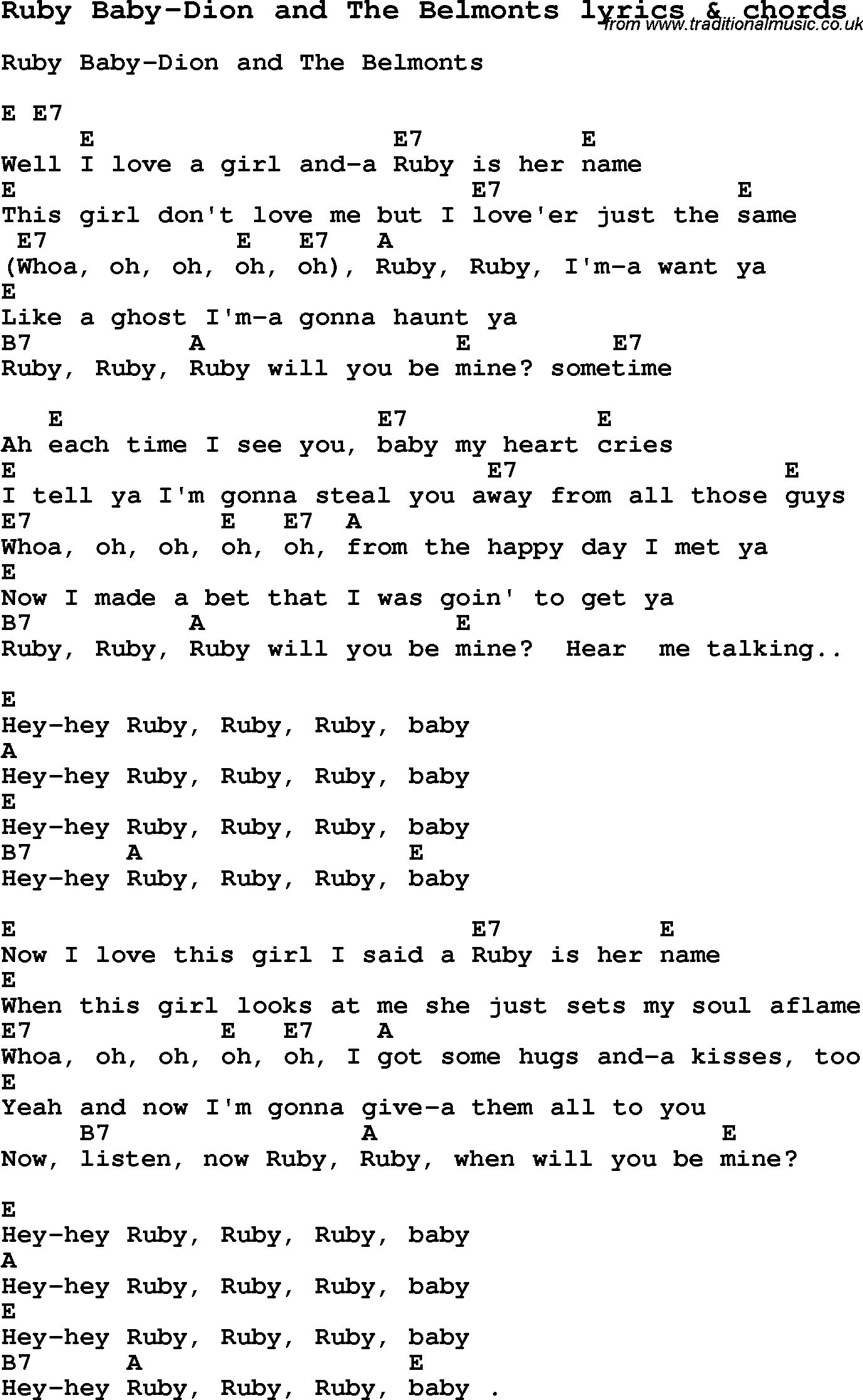 Love song lyrics forruby baby dion and the belmonts with chords love song lyrics for ruby baby dion and the belmonts with chords for ukulele hexwebz Image collections