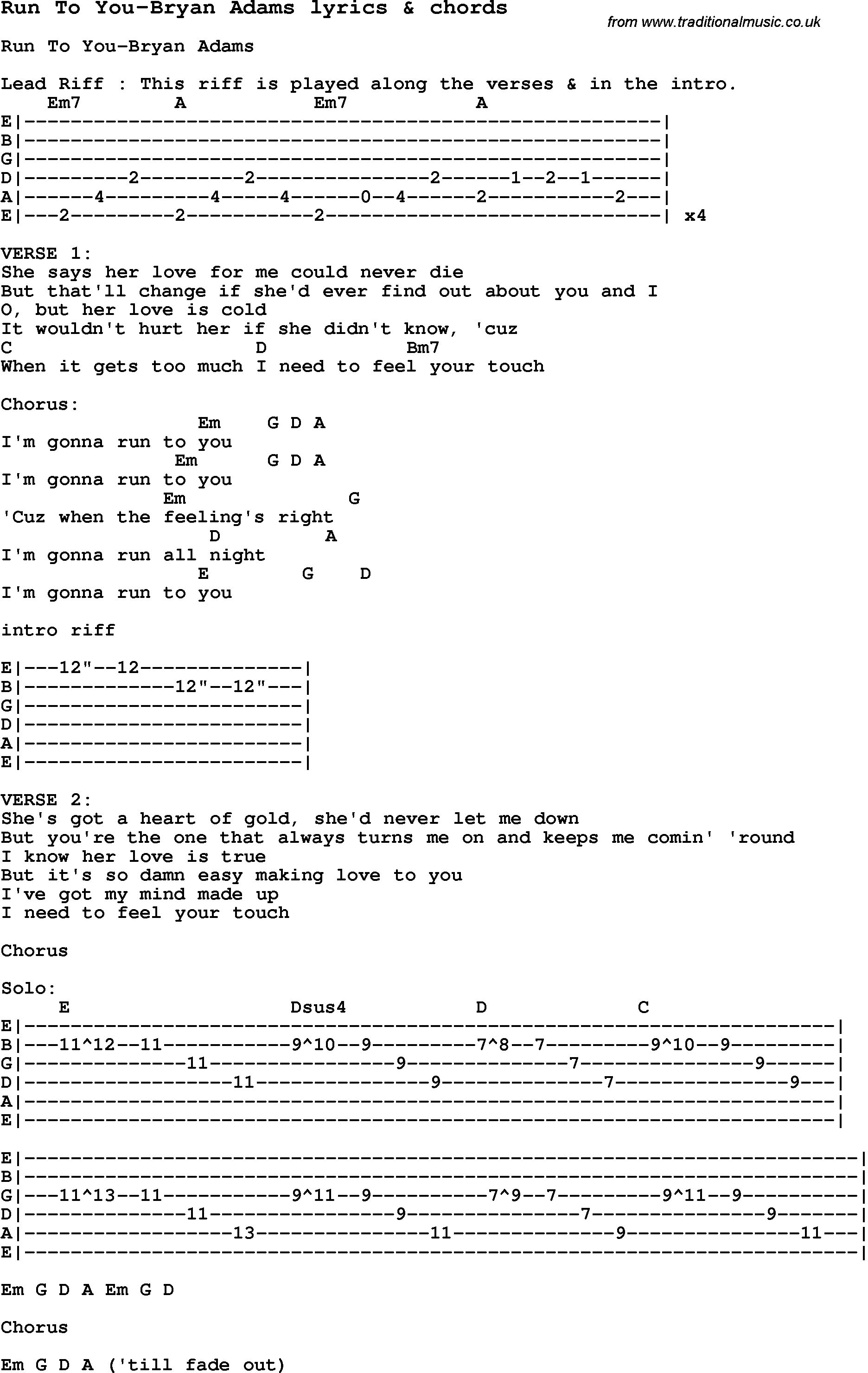 bryan adams songs lyrics pdf