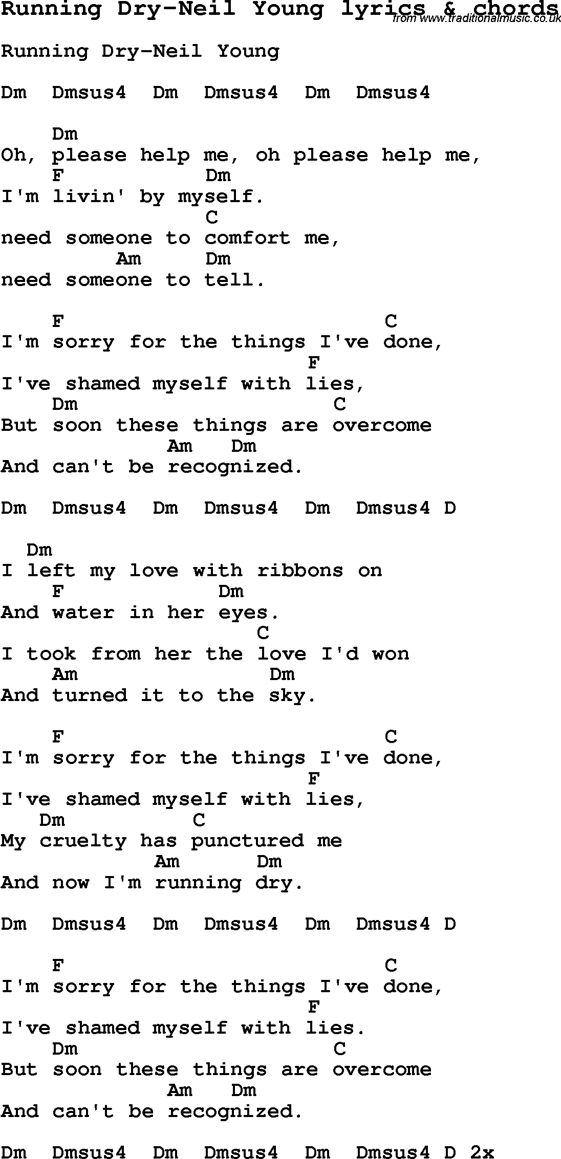Love Song Lyrics for:Running Dry-Neil Young with chords.