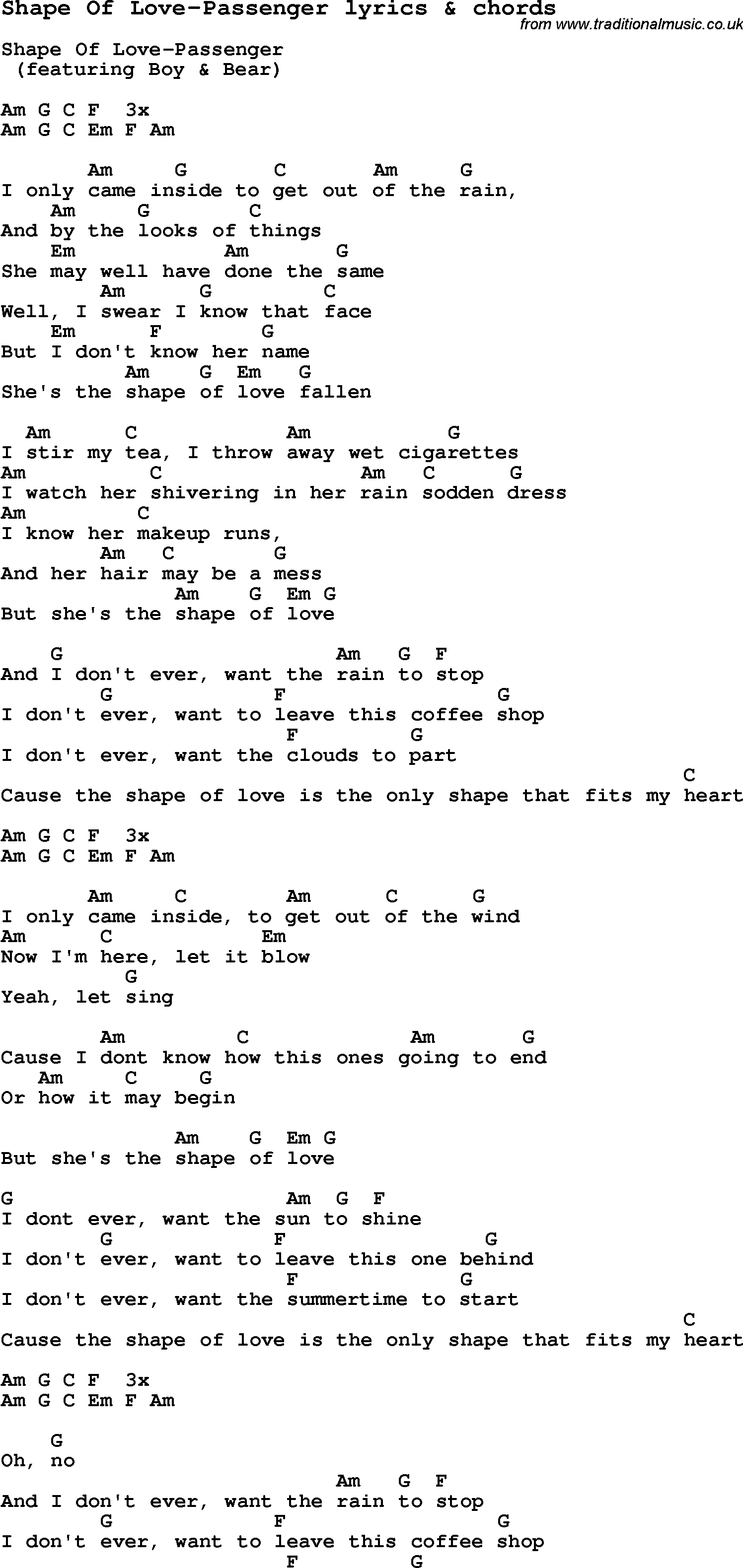 Love Song Lyrics for:Shape Of Love-Passenger with chords.
