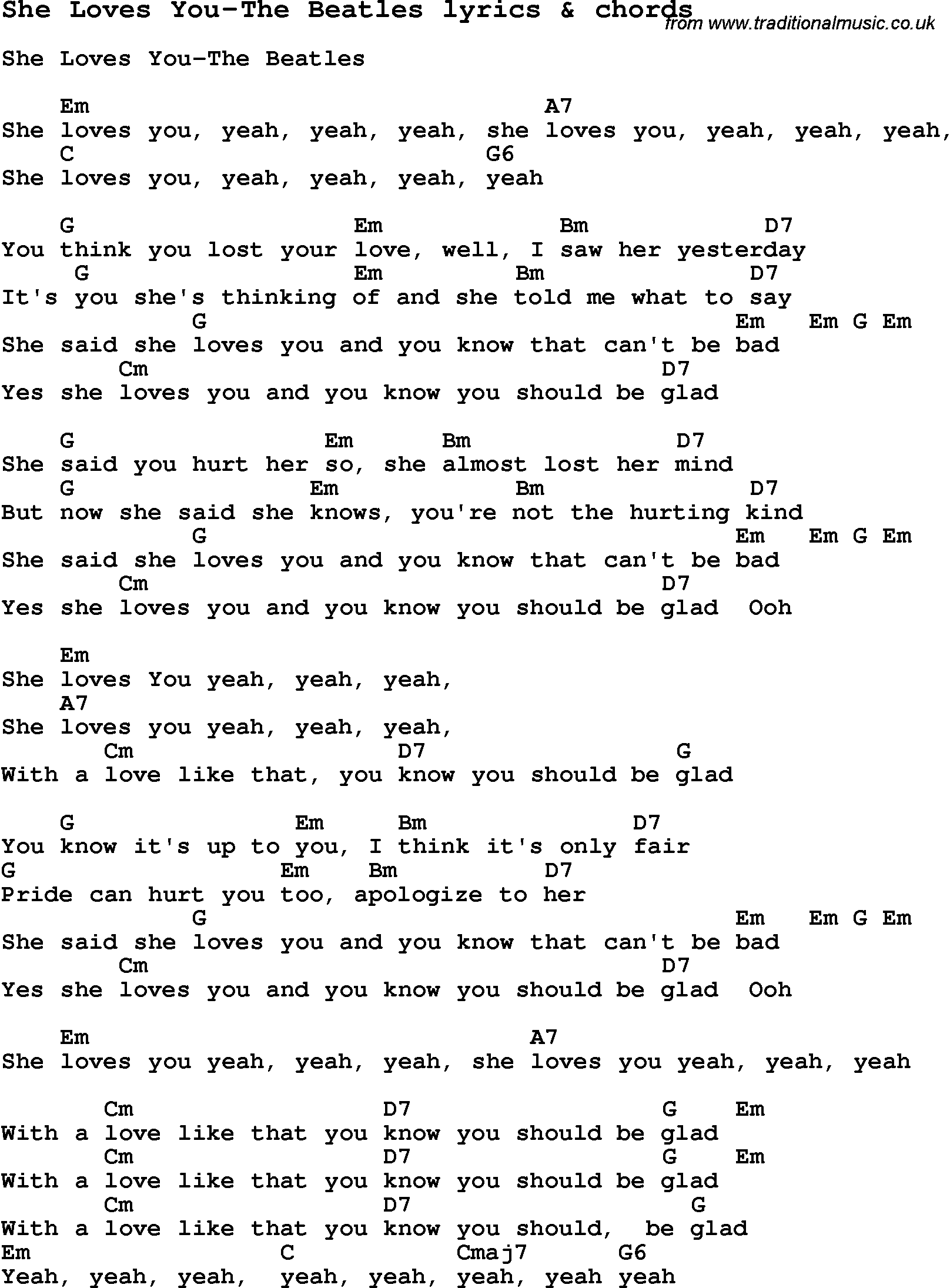 Love song lyrics forshe loves you the beatles with chords love song lyrics for she loves you the beatles with chords for ukulele hexwebz Choice Image