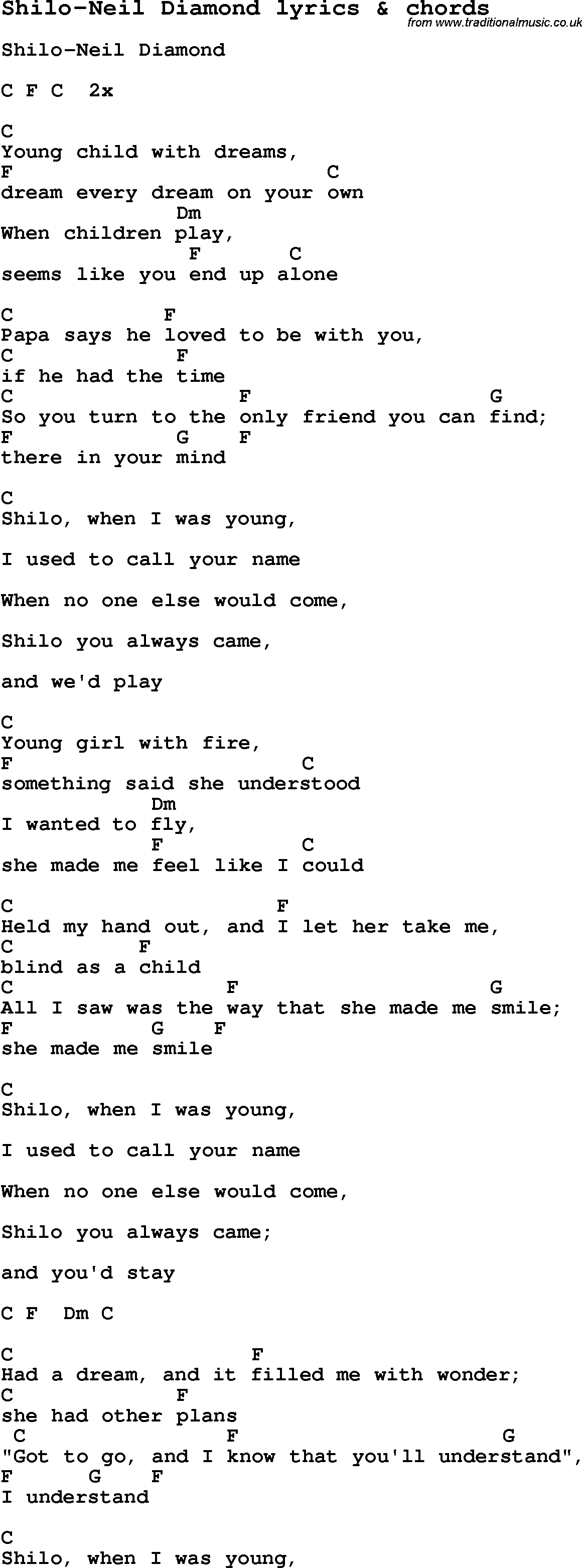 Love Song Lyrics Forshilo Neil Diamond With Chords
