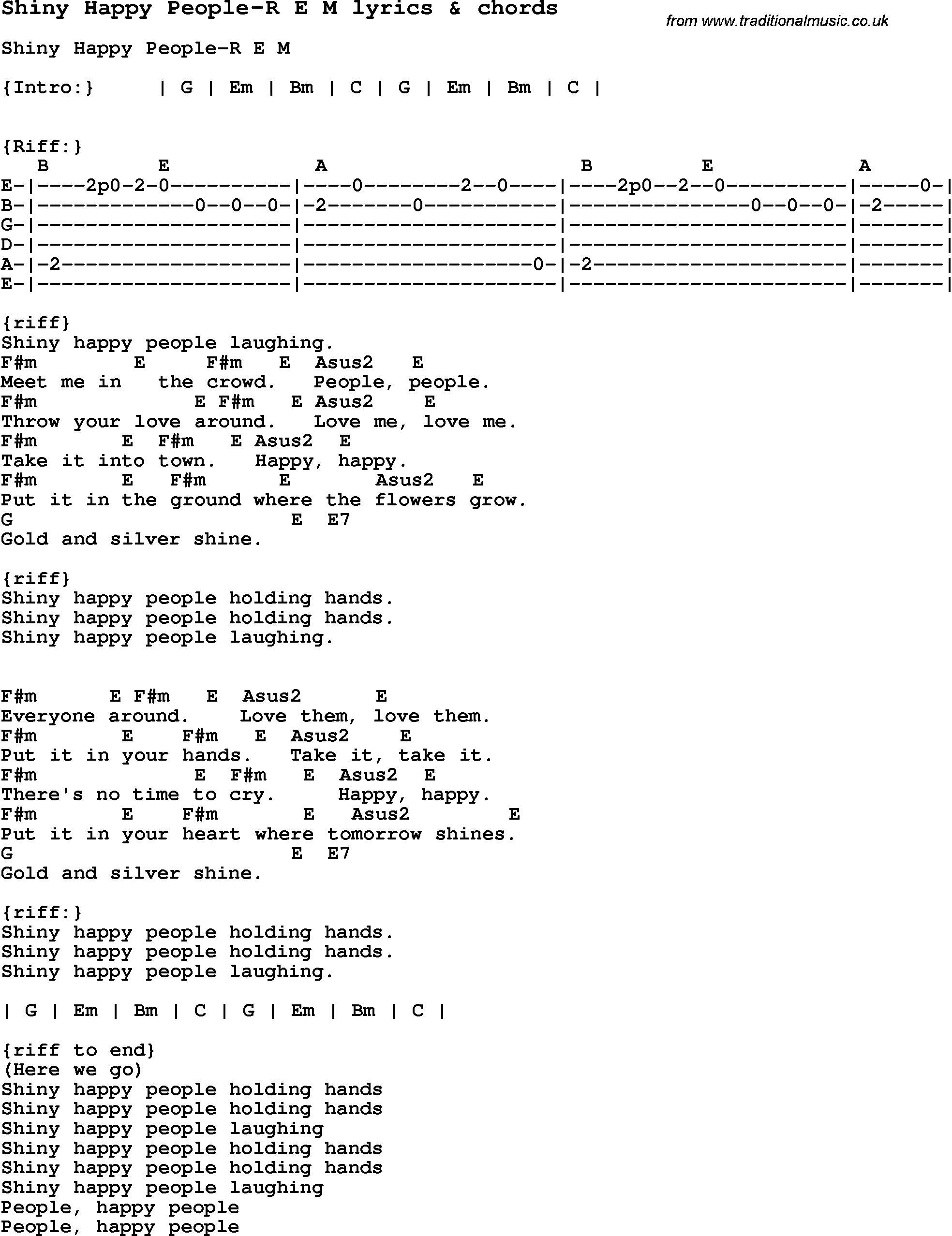 Love Song Lyrics Forshiny Happy People R E M With Chords