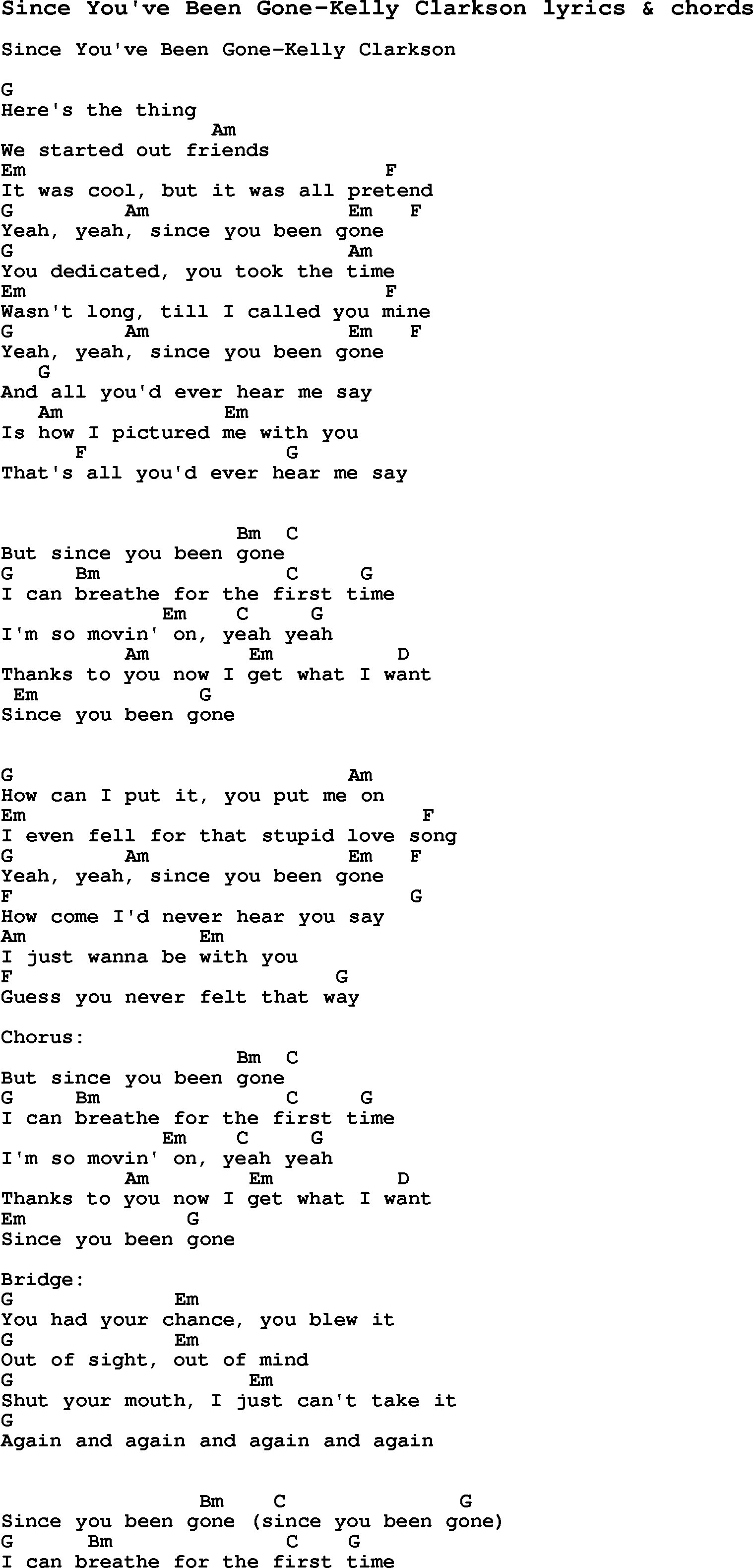 Love Song Lyrics Forsince Youve Been Gone Kelly Clarkson With Chords