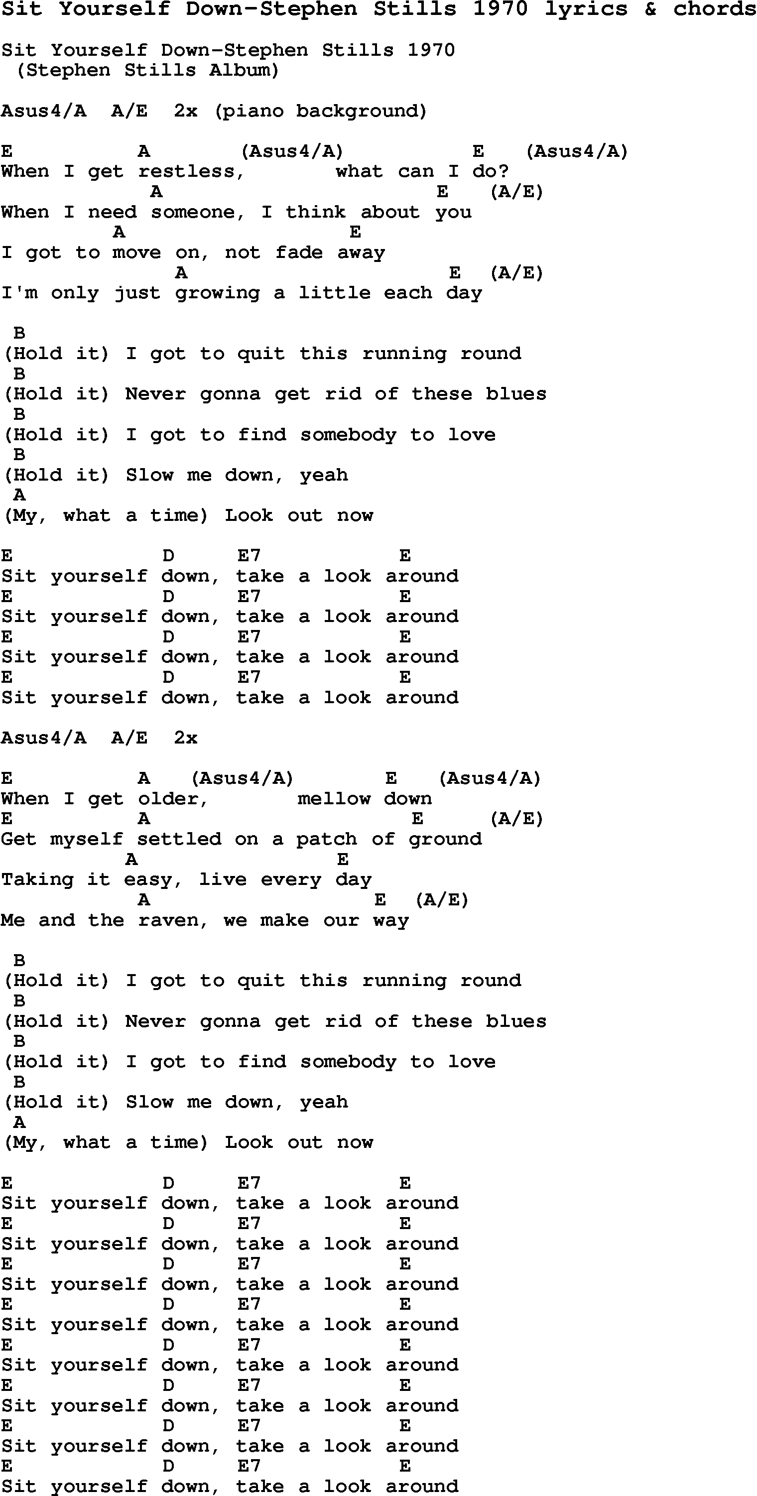 Love song lyrics forsit yourself down stephen stills 1970 with love song lyrics for sit yourself down stephen stills 1970 with chords for ukulele hexwebz Choice Image