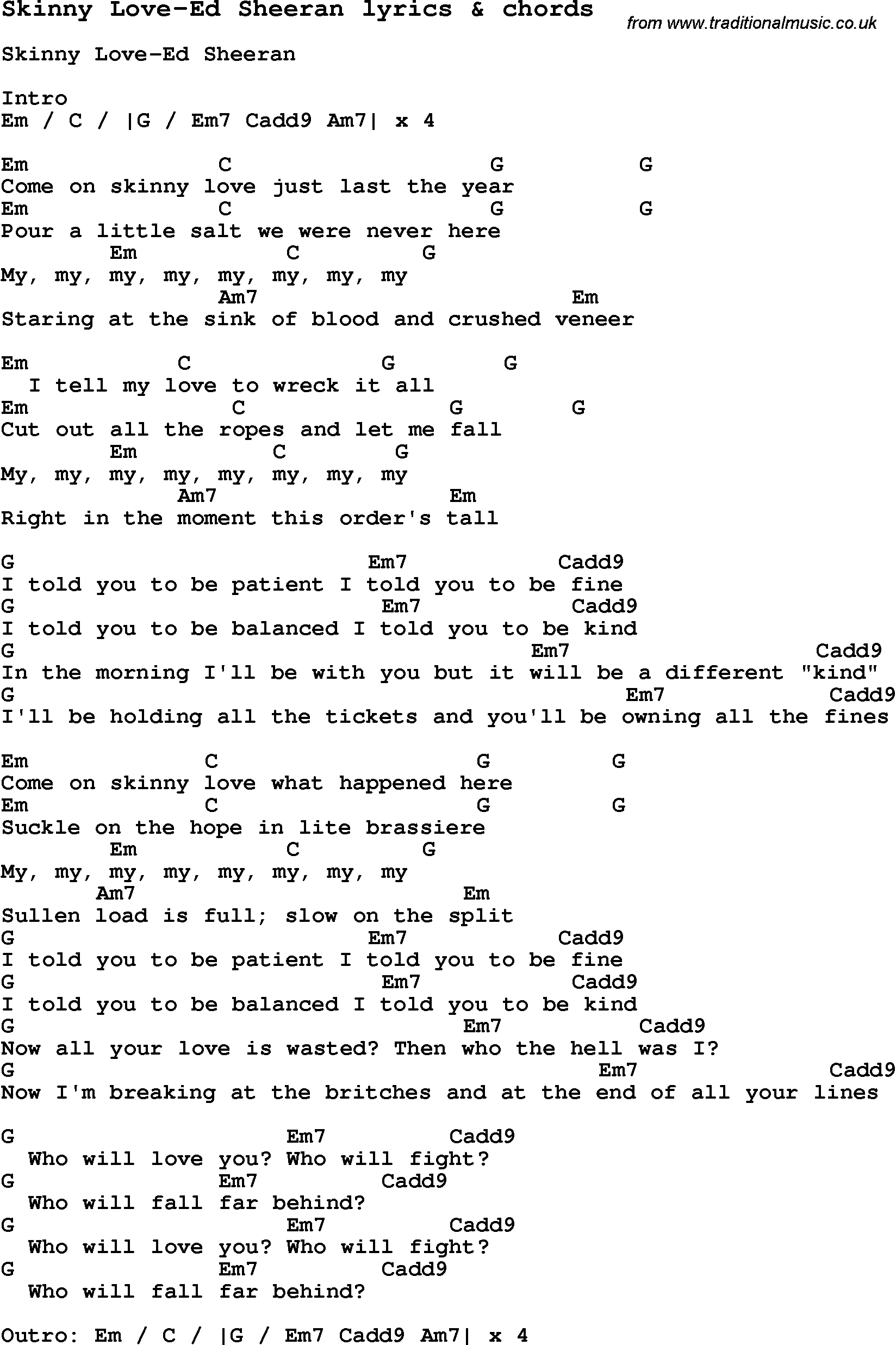 Kiss Me chords & tabs by Ed Sheeran @ 911Tabs
