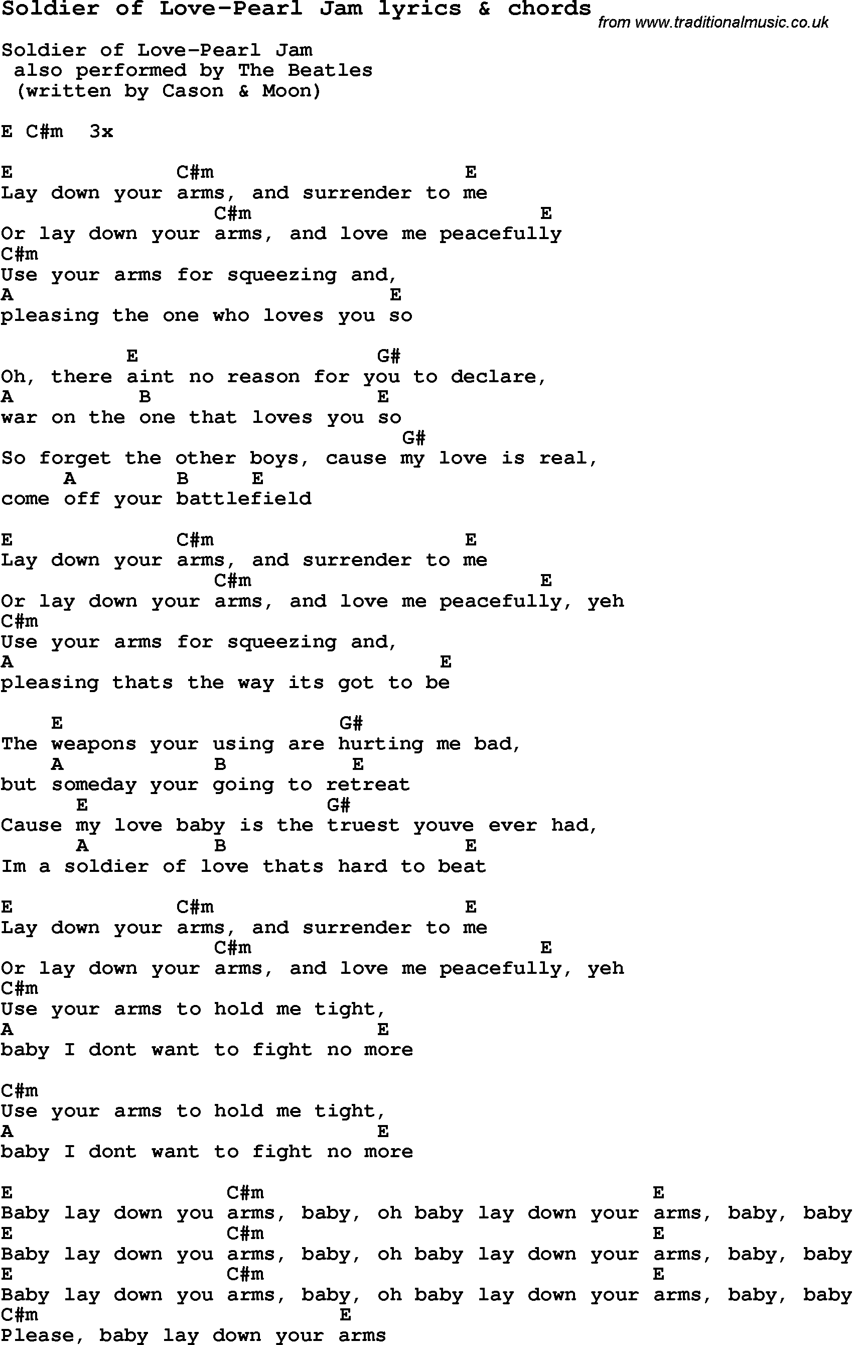 Love Song Lyrics Forsoldier Of Love Pearl Jam With Chords