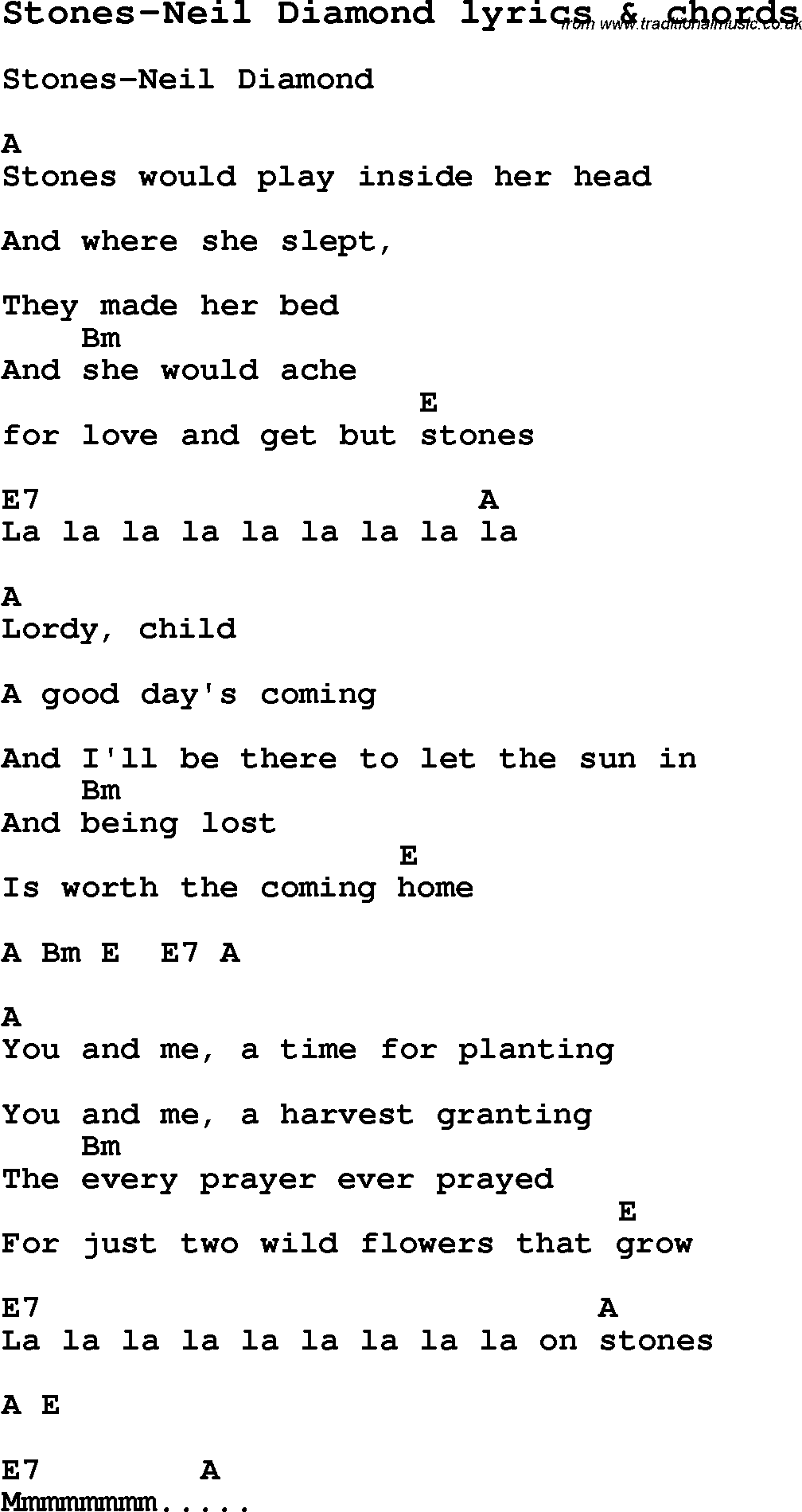 Love Song Lyrics Forstones Neil Diamond With Chords