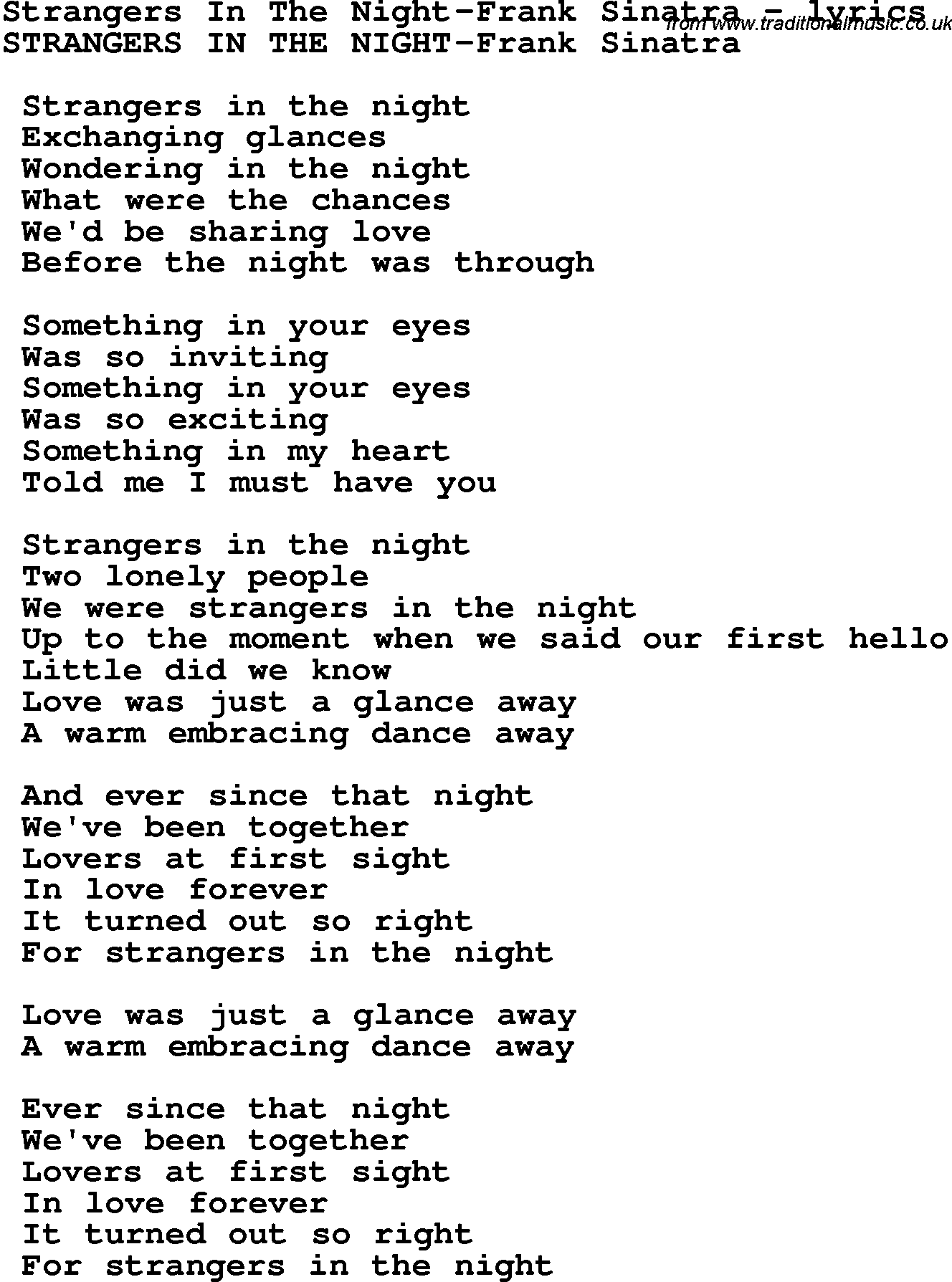 Love Song Lyrics for:Strangers In The Night-Frank Sinatra