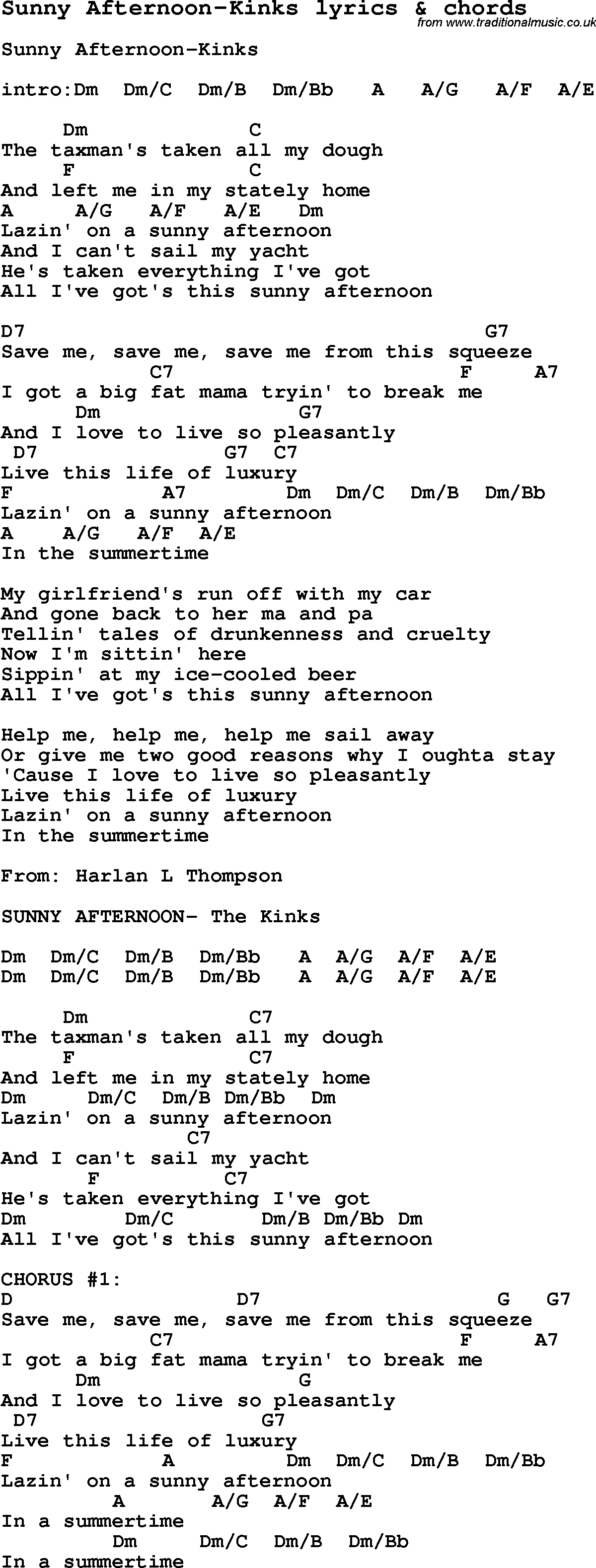 Love song lyrics forsunny afternoon kinks with chords love song lyrics for sunny afternoon kinks with chords for ukulele guitar banjo hexwebz Image collections