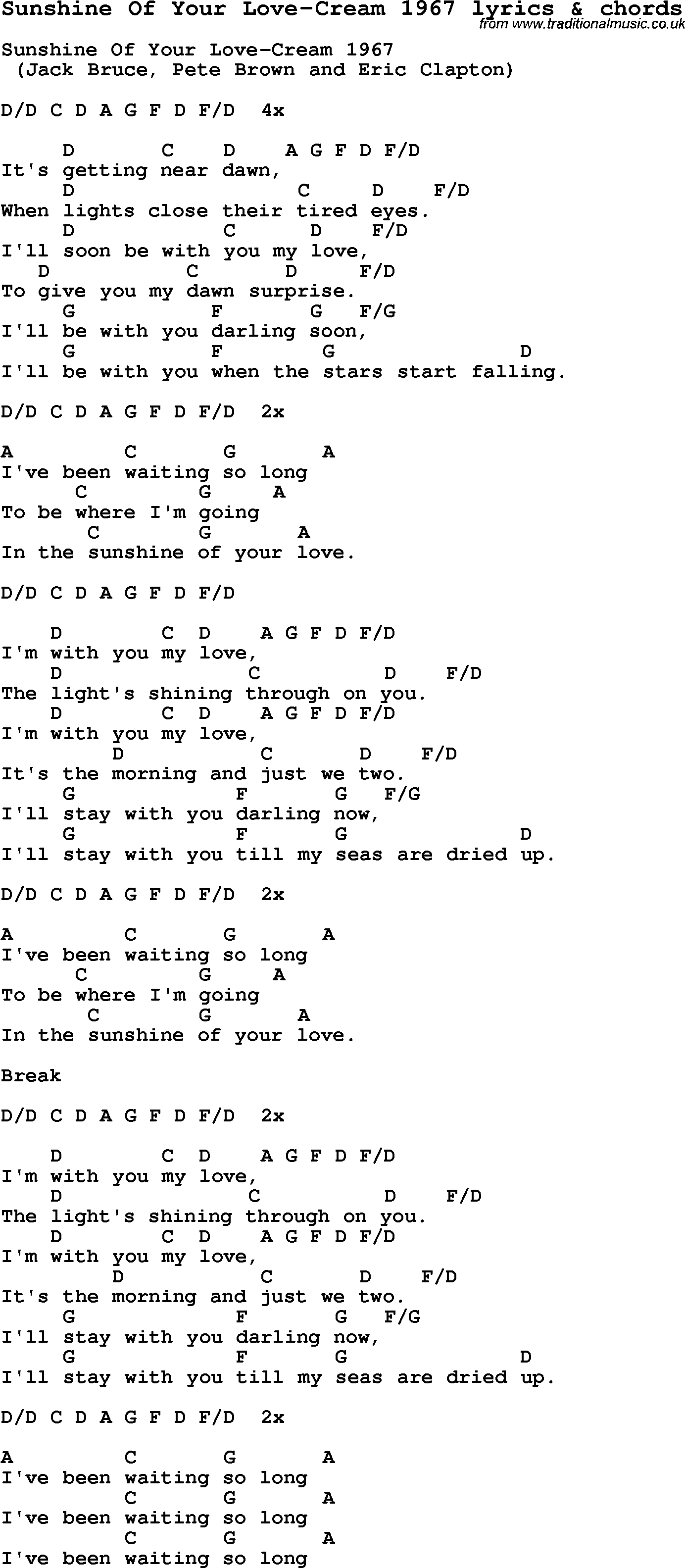 Love Song Lyrics for:Sunshine Of Your Love-Cream 1967 with chords.