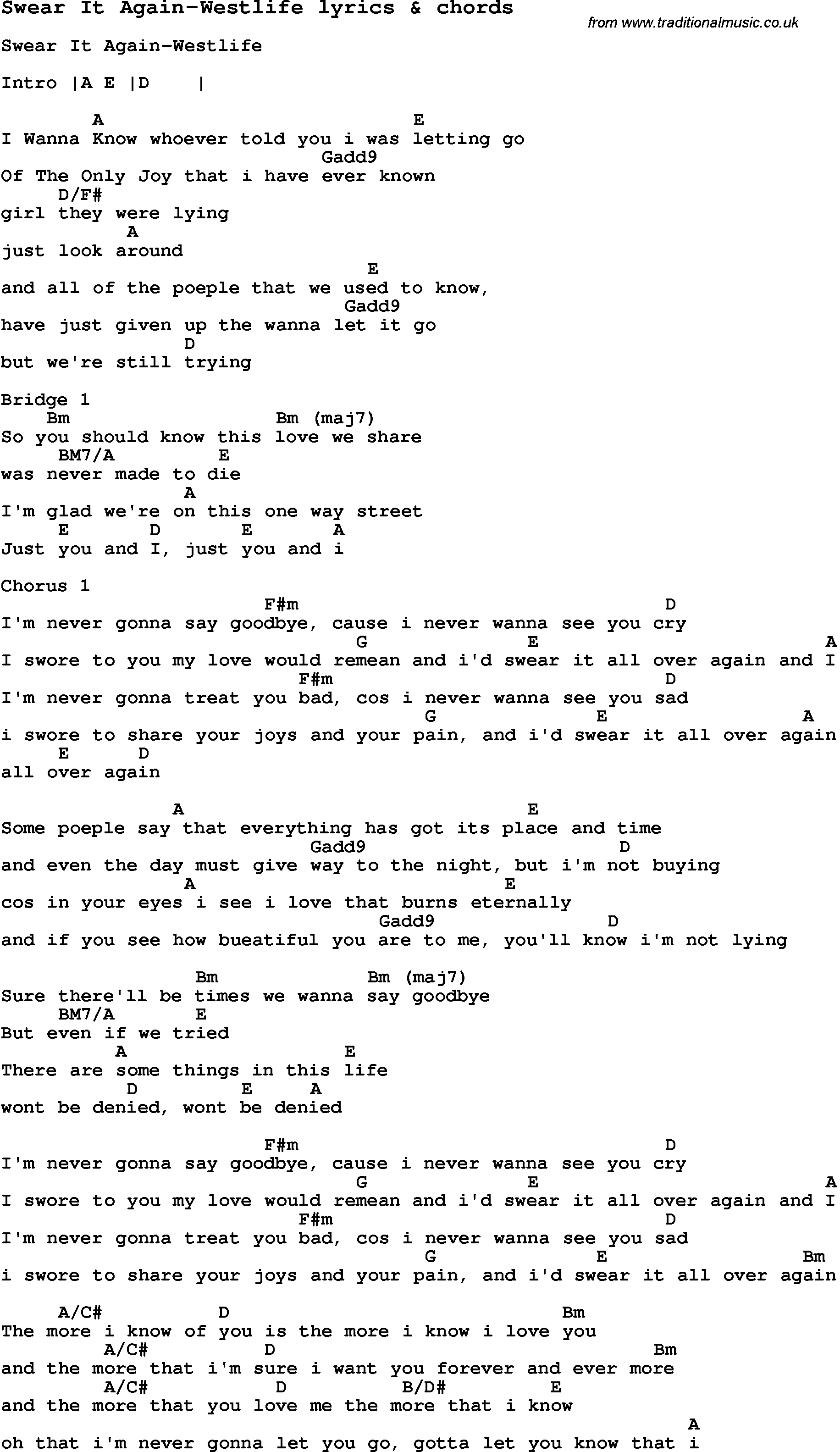 Love Song Lyrics Forswear It Again Westlife With Chords