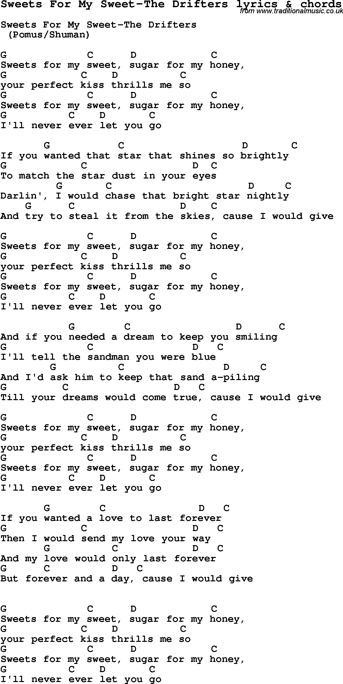 Love Song Lyrics forSweets For My Sweet The Drifters with chords.