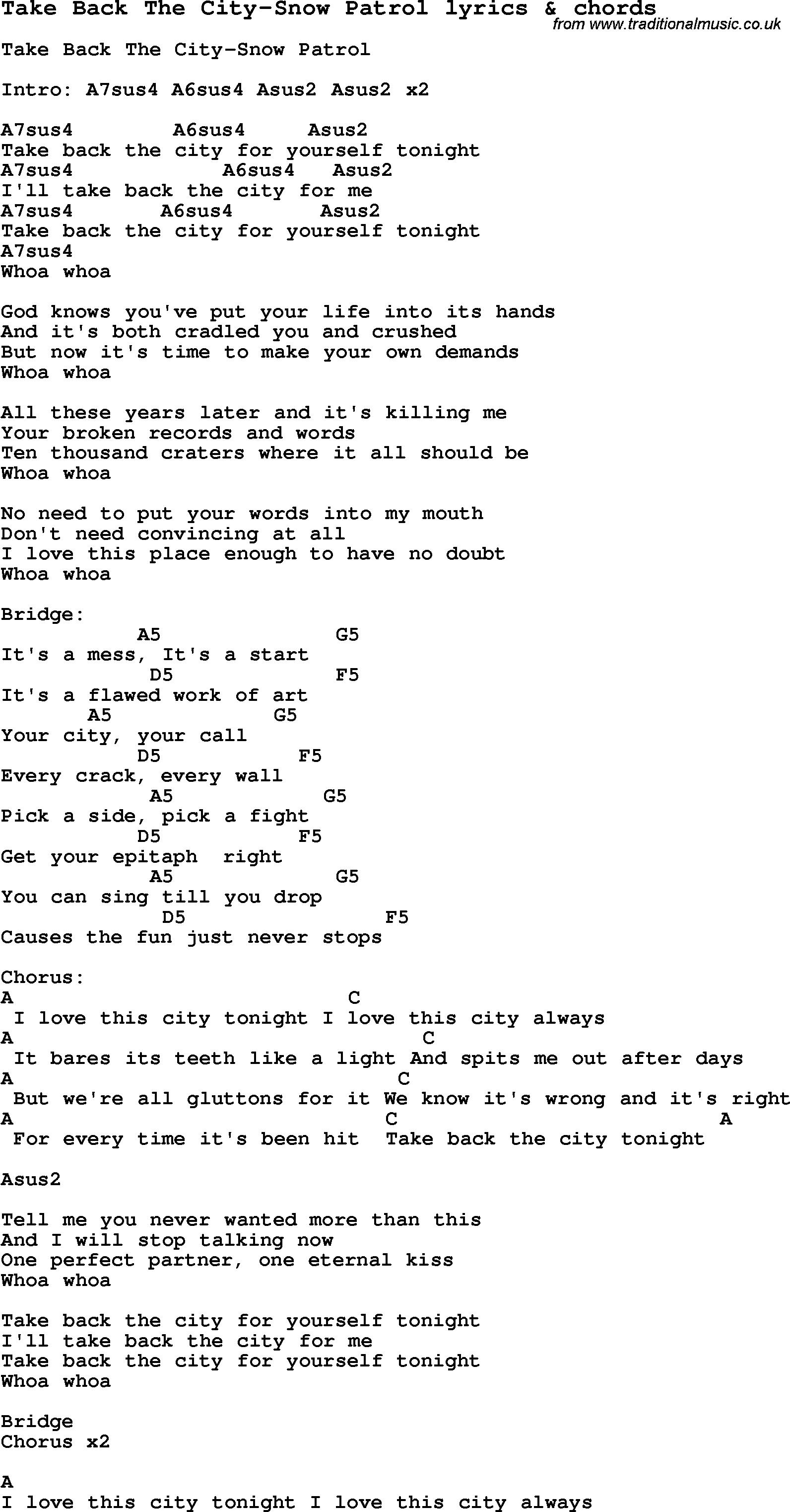 Love Song Lyrics Fortake Back The City Snow Patrol With Chords