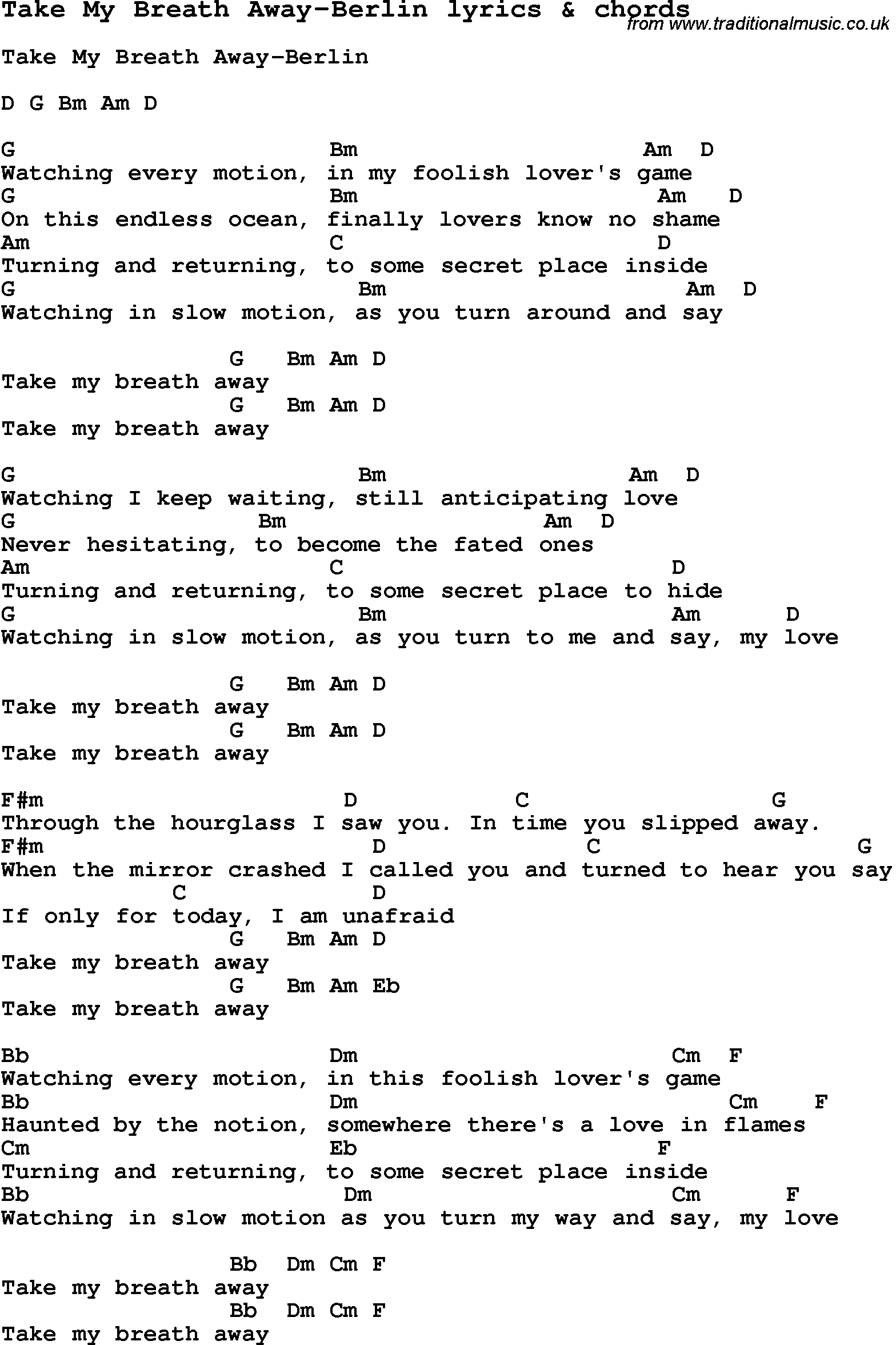 Love song lyrics fortake my breath away berlin with chords love song lyrics for take my breath away berlin with chords for ukulele hexwebz Images