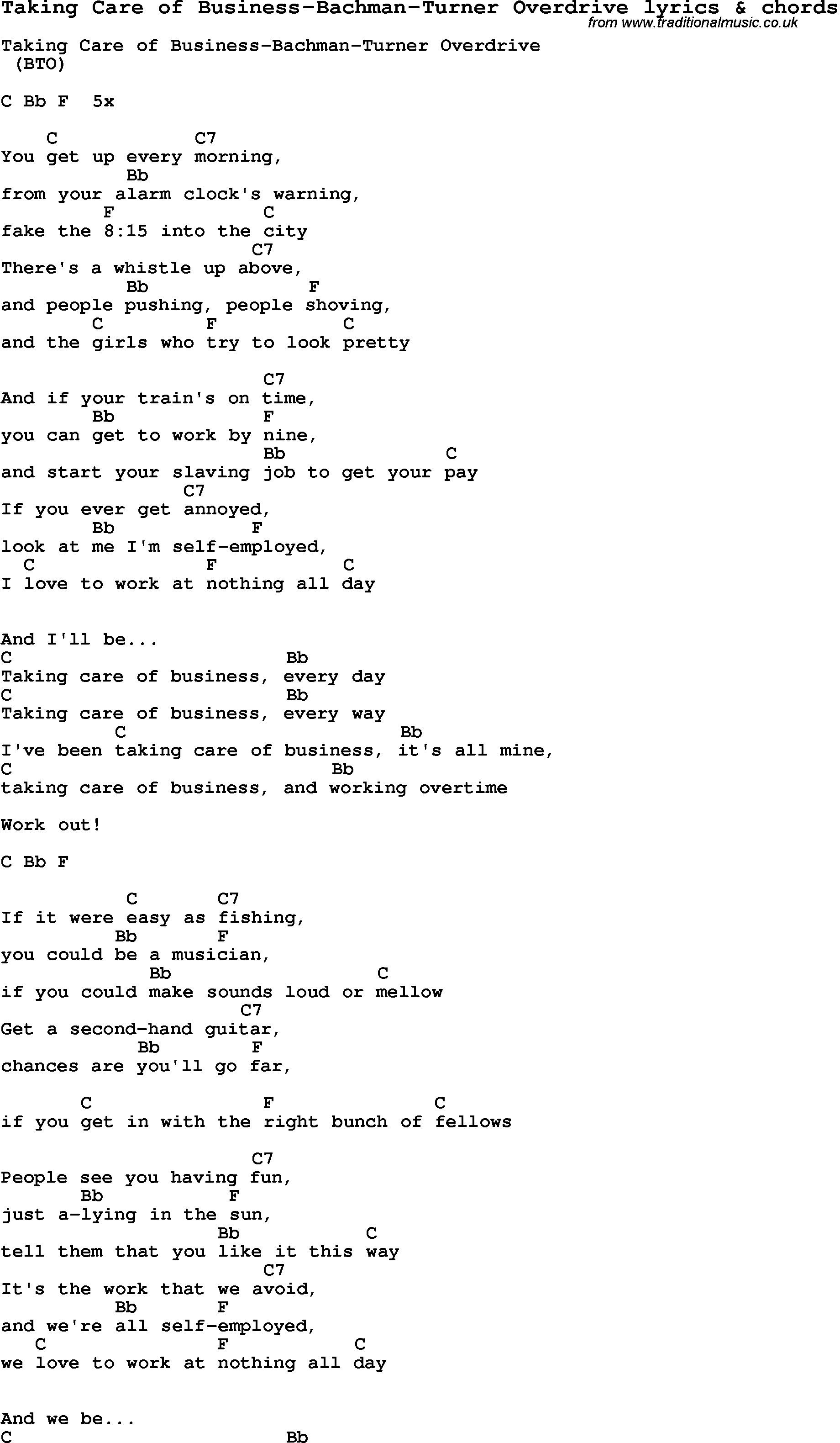 Song Lyrics for:Taking Care of Business-Bachman-Turner ...