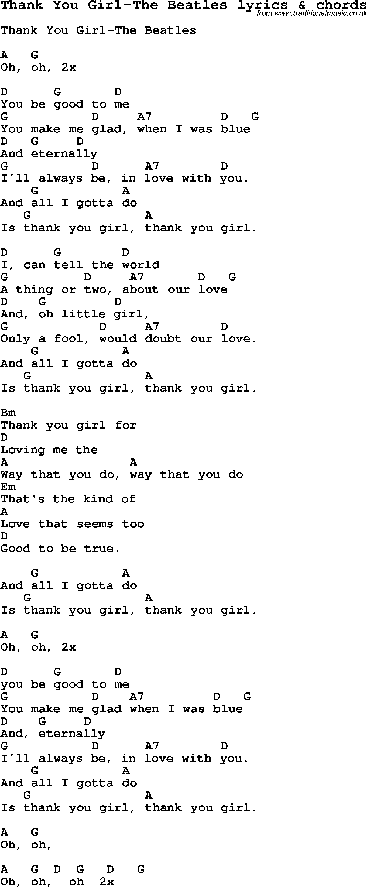 Love Song Lyrics for:Thank You Girl-The Beatles with chords.