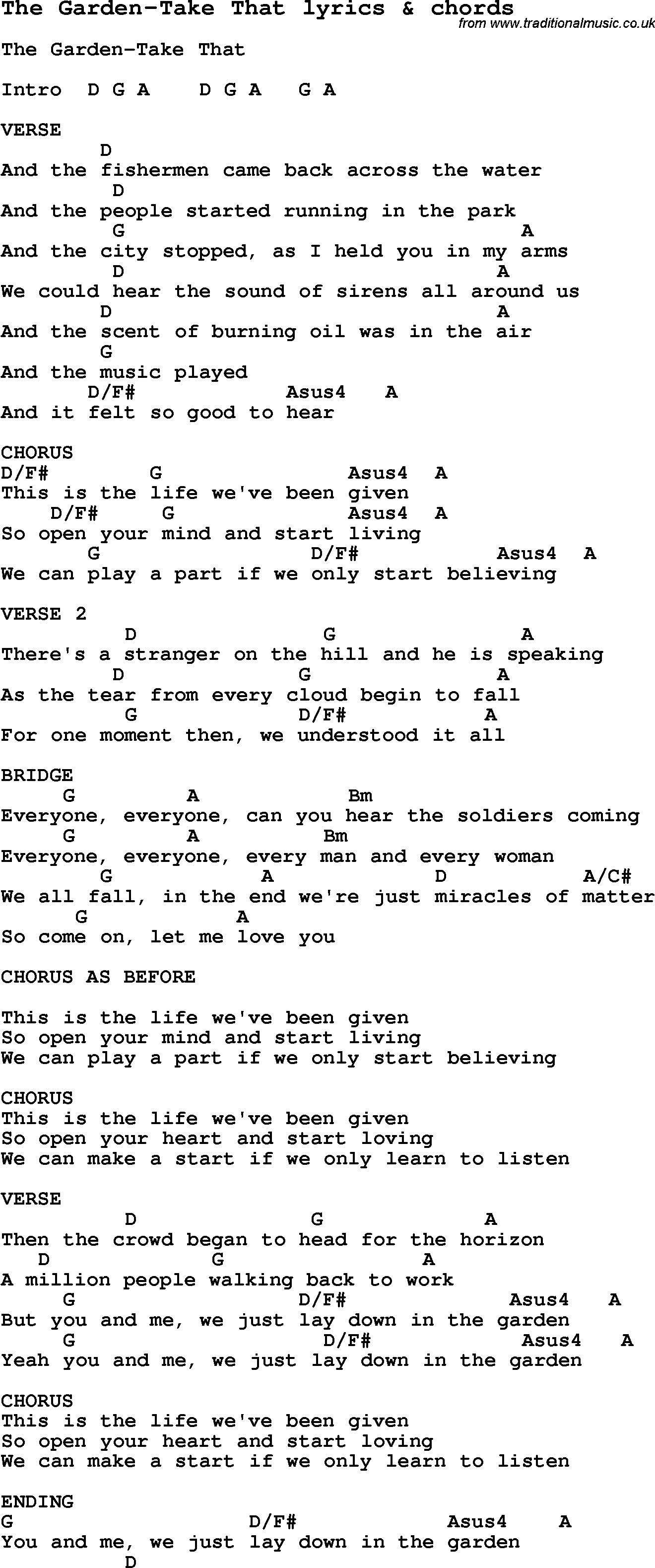 Love Song Lyrics For The Garden Take That With Chords