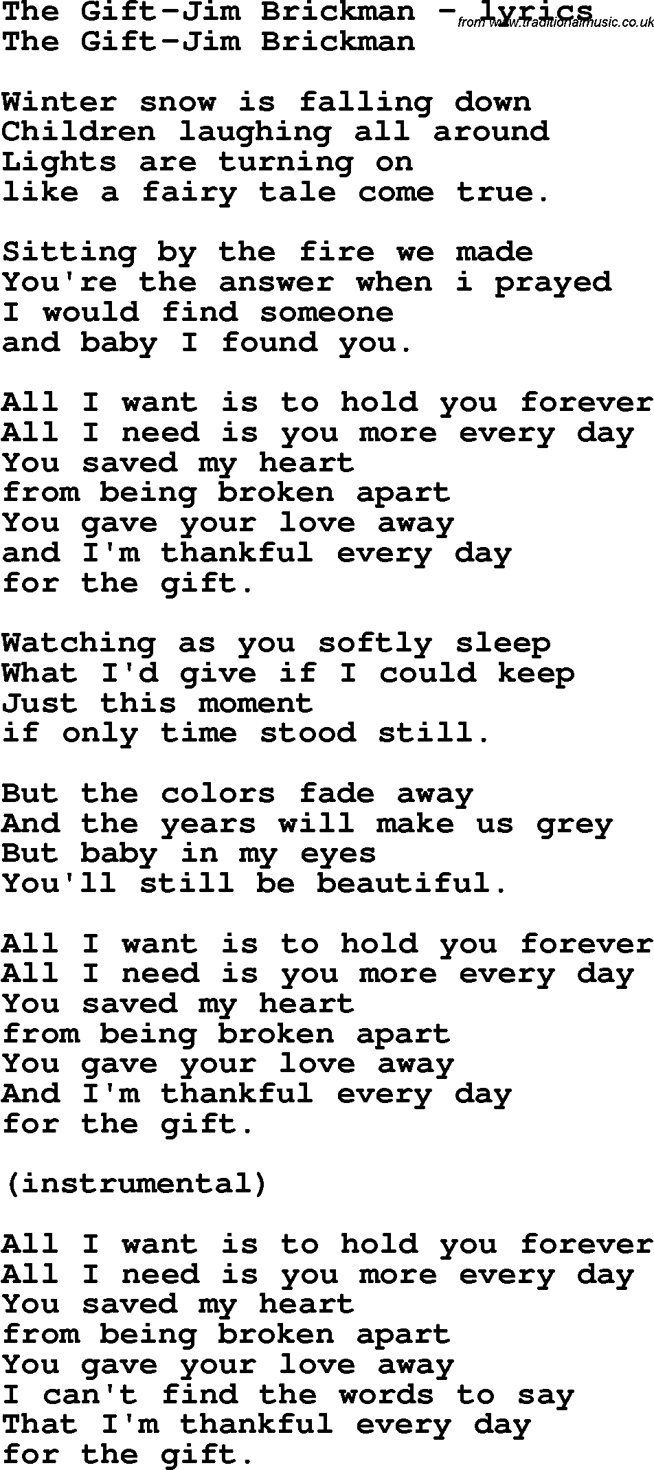 Love Song Lyrics for:The Gift-Jim Brickman