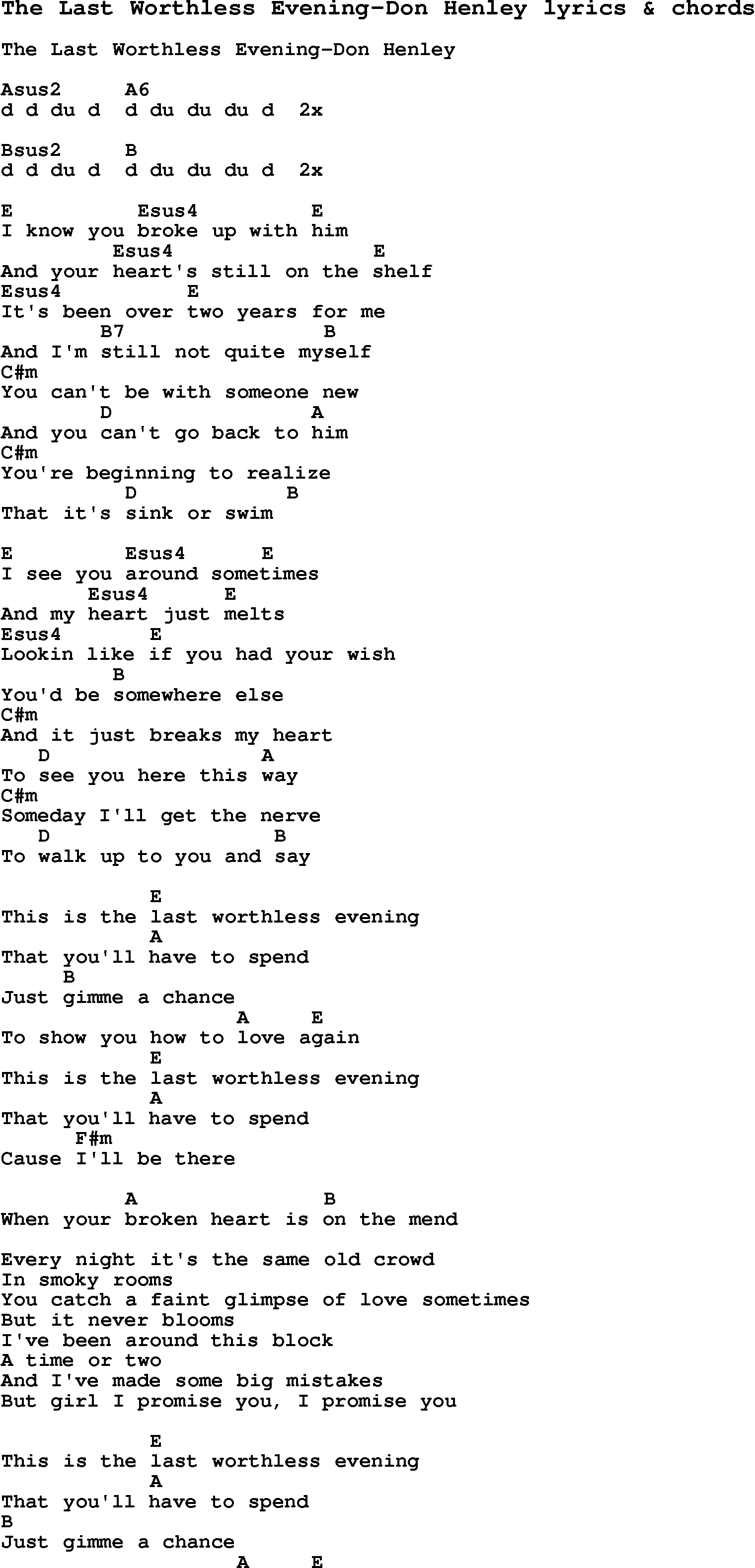 Just an old fashioned love song chords 39