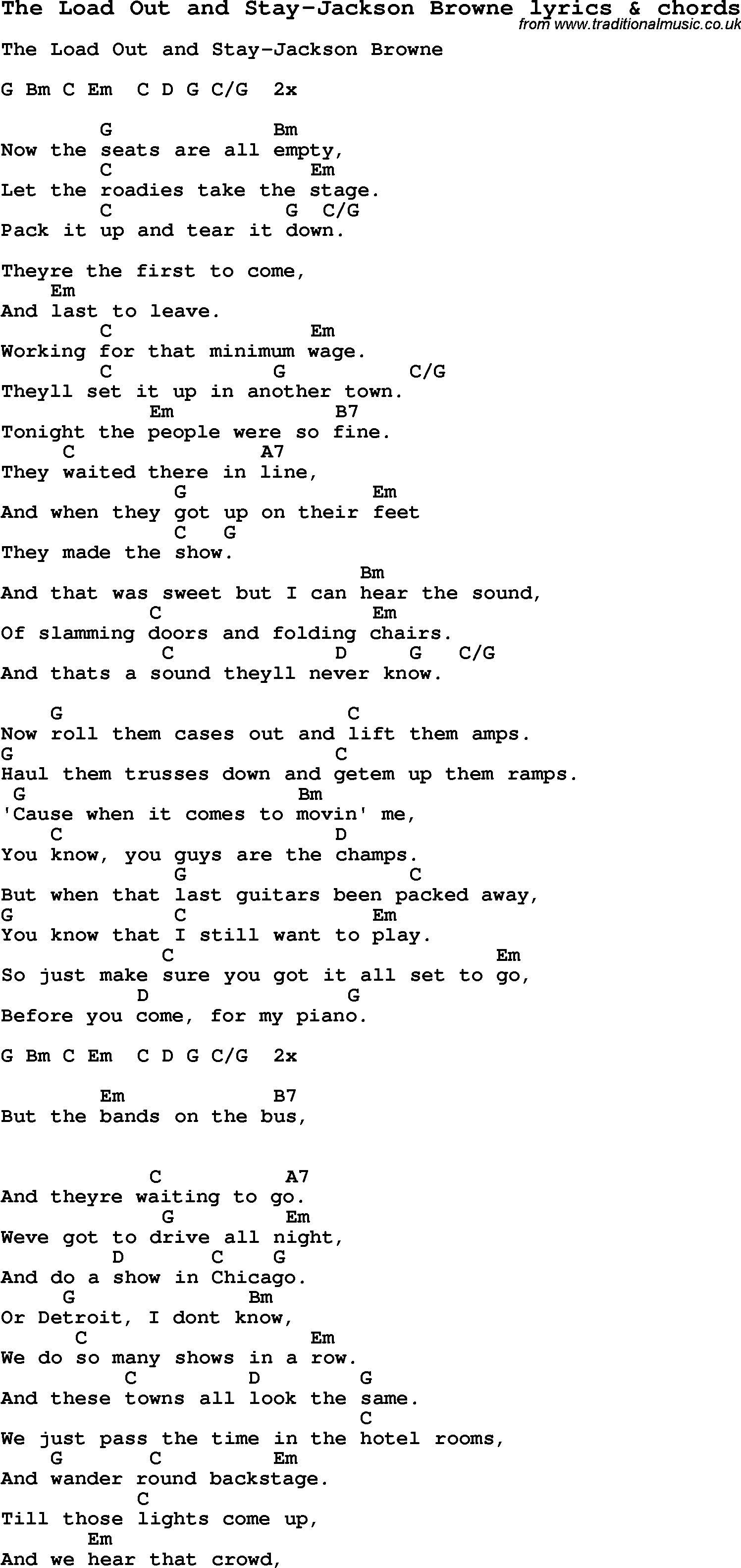 Love Song Lyrics Forthe Load Out And Stay Jackson Browne With Chords