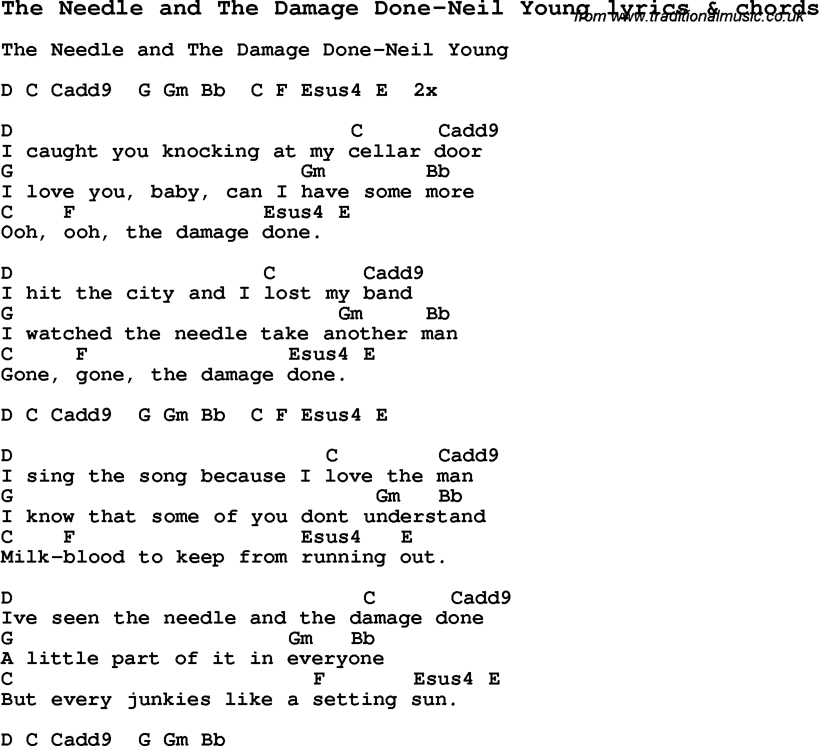 Love Song Lyrics for:The Needle and The Damage Done-Neil Young with chords.