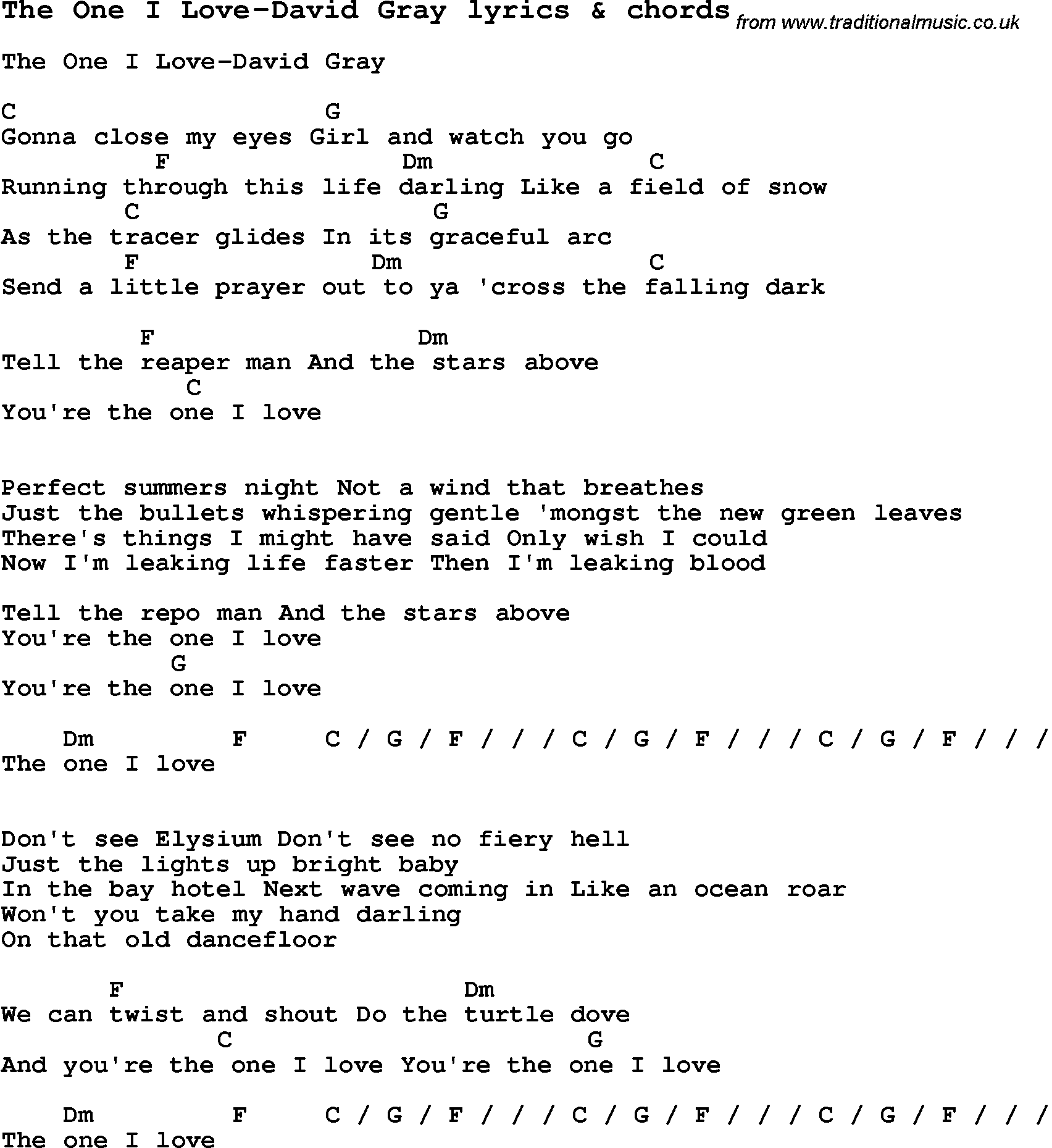 Love Song Lyrics Forthe One I Love David Gray With Chords