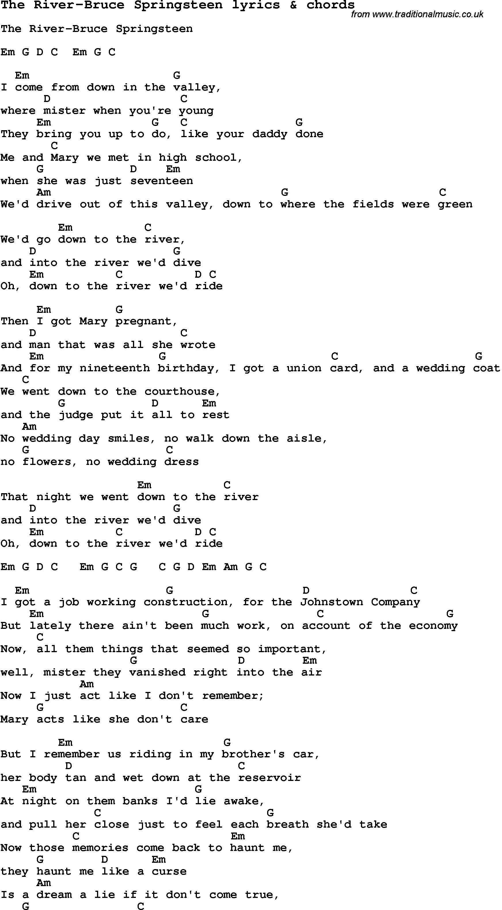 Love Song Lyrics forThe River Bruce Springsteen with chords.