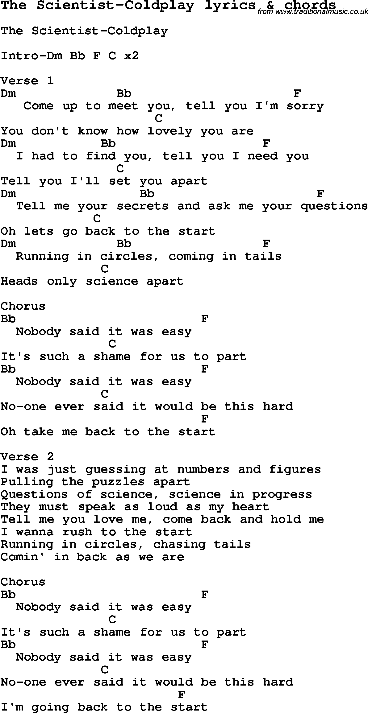 Love song lyrics forthe scientist coldplay with chords love song lyrics for the scientist coldplay with chords for ukulele guitar banjo hexwebz Images